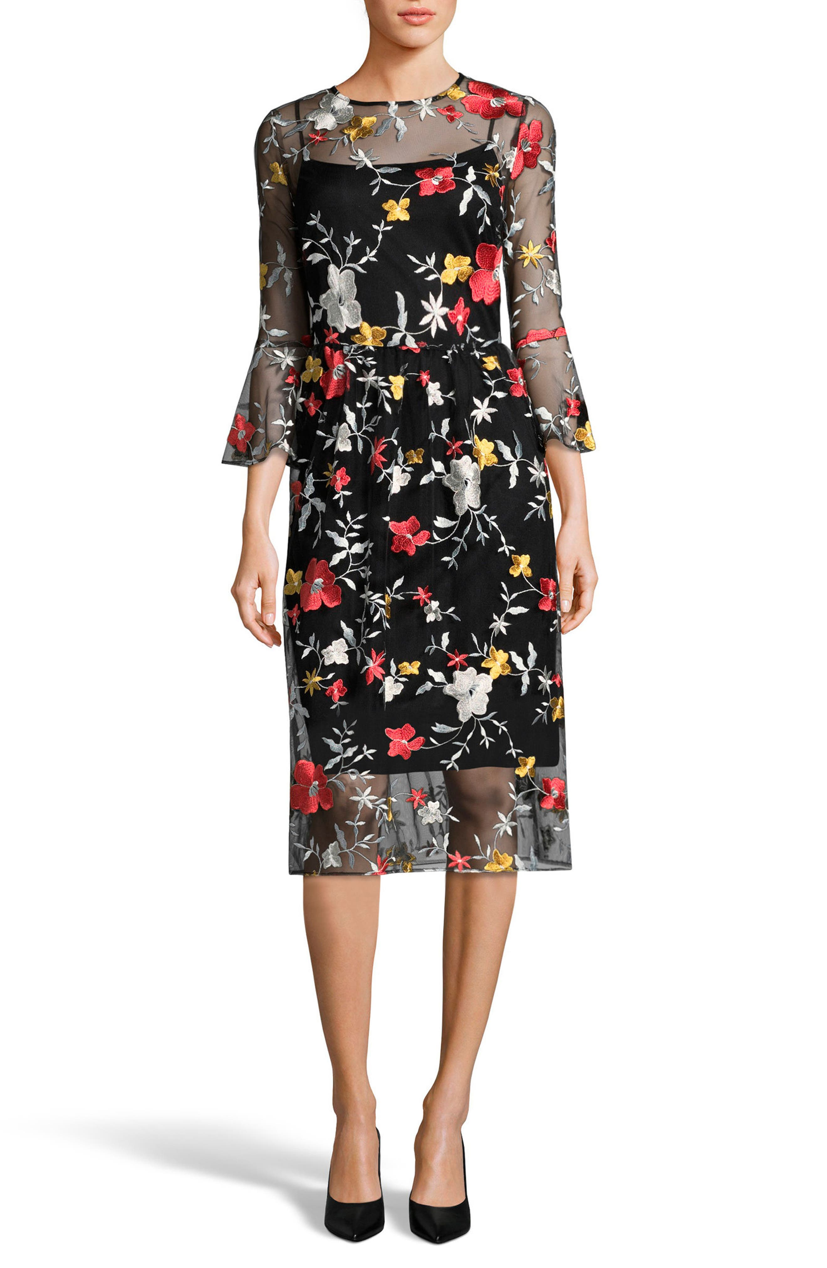 Embroidered Bell Sleeve Dress,                             Main thumbnail 1, color,