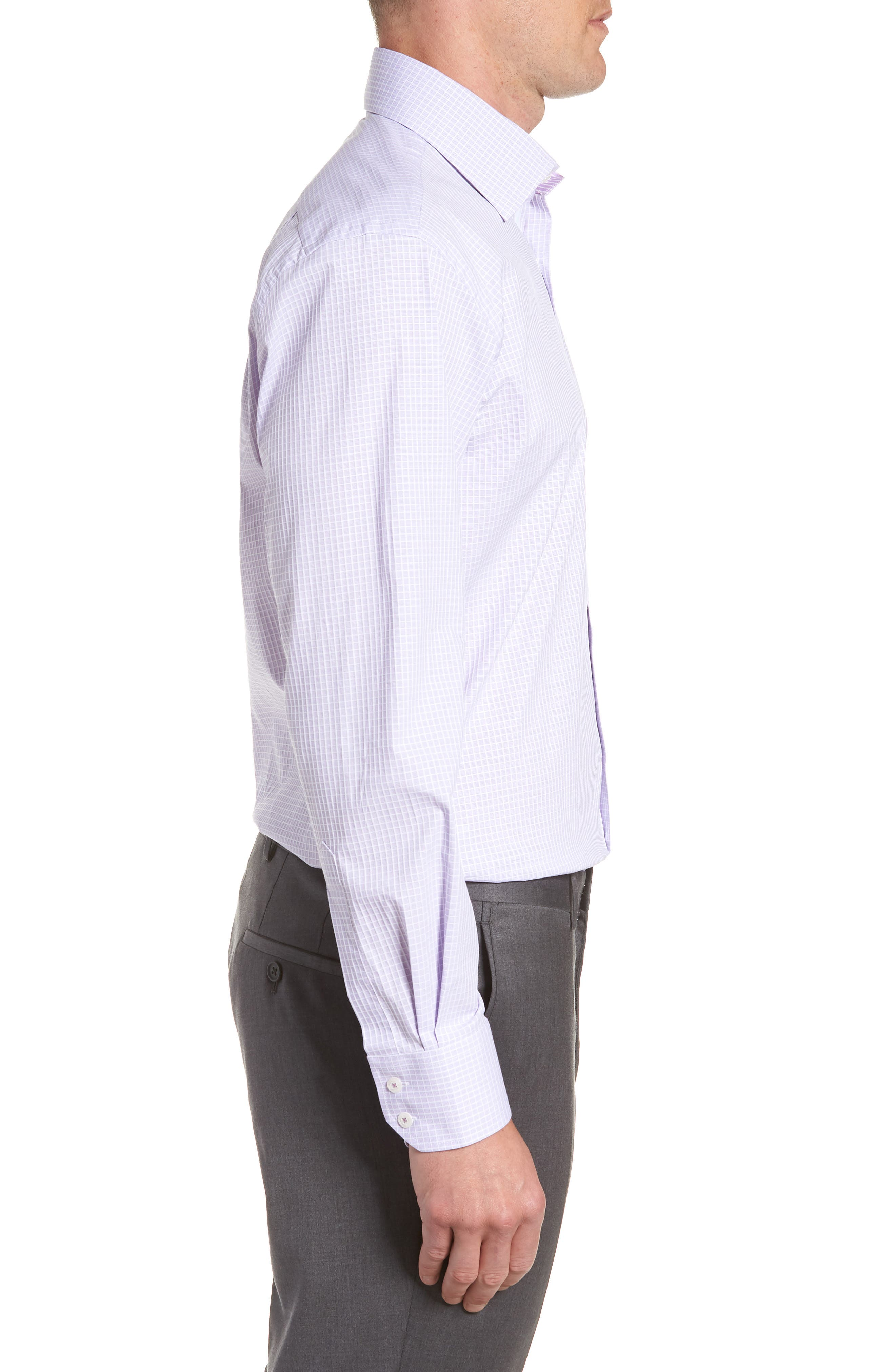 Trim Fit Stretch Check Dress Shirt,                             Alternate thumbnail 4, color,                             LILAC