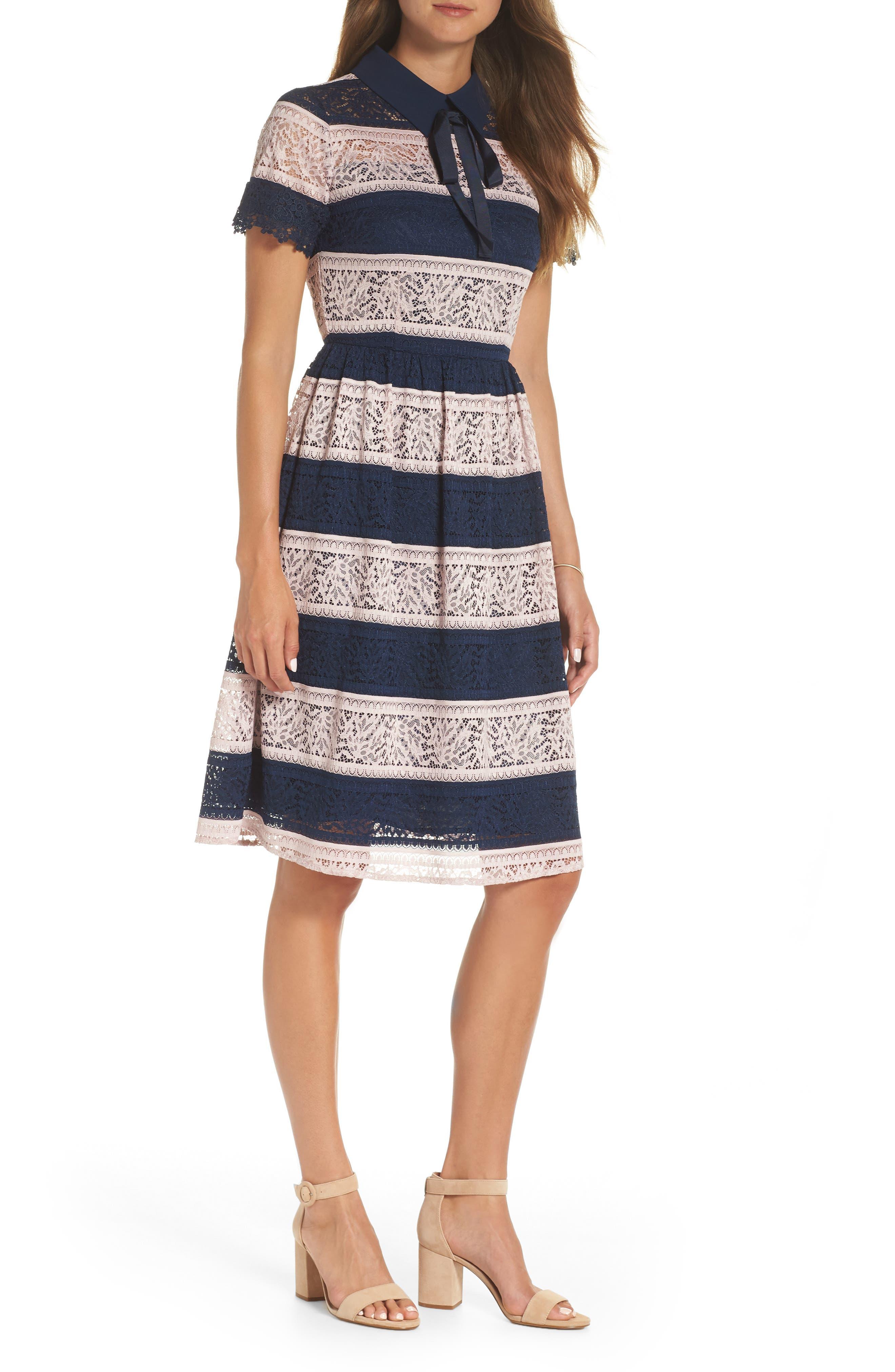 Stripe Lace Fit & Flare Dress,                         Main,                         color, 410