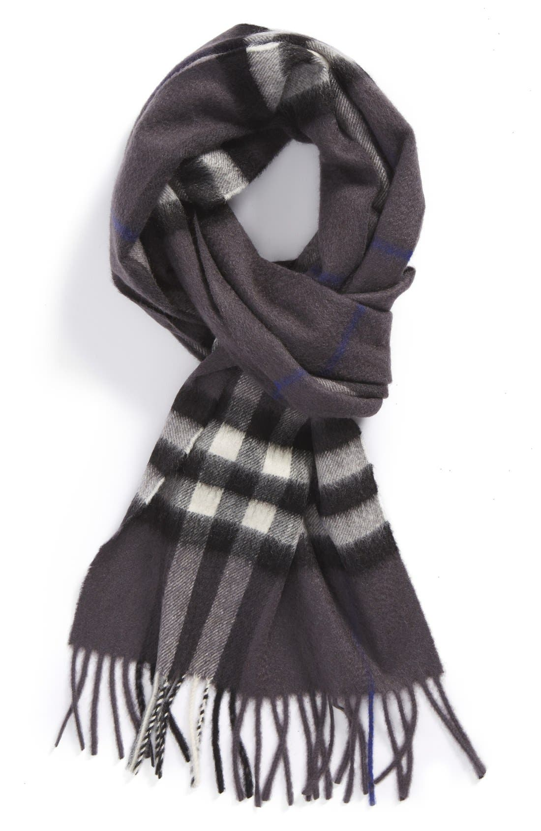 Heritage Check Cashmere Scarf,                             Main thumbnail 4, color,