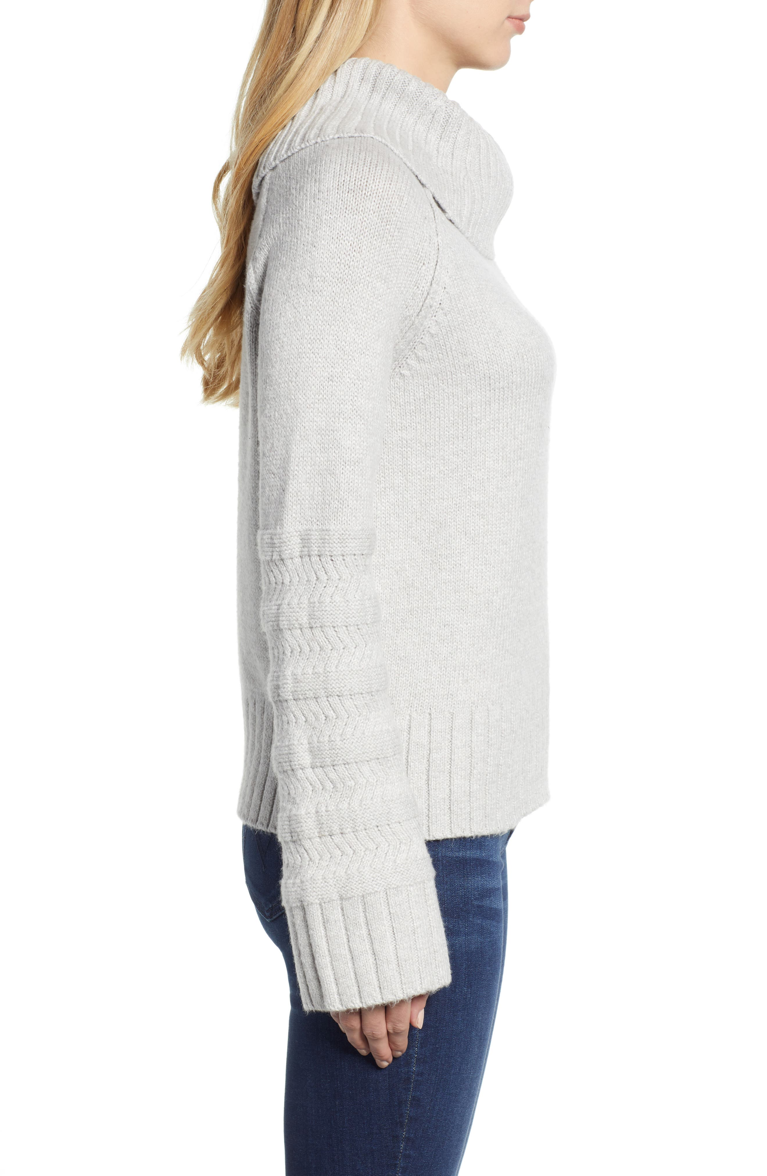 Turtleneck Sweater,                             Alternate thumbnail 3, color,                             GREY LIGHT HEATHER
