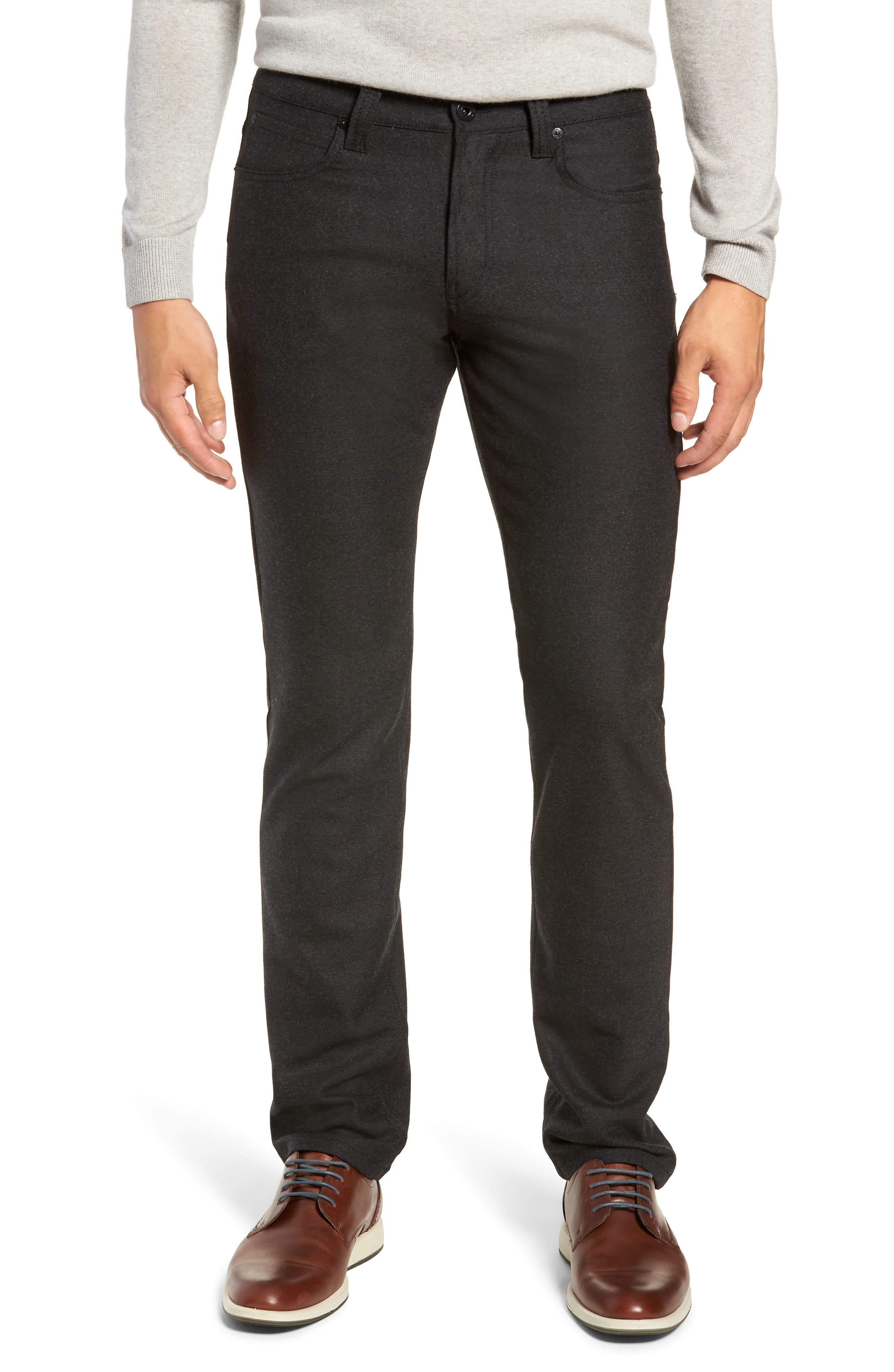 Slim Fit Wool Blend Pants,                         Main,                         color, CHARCOAL