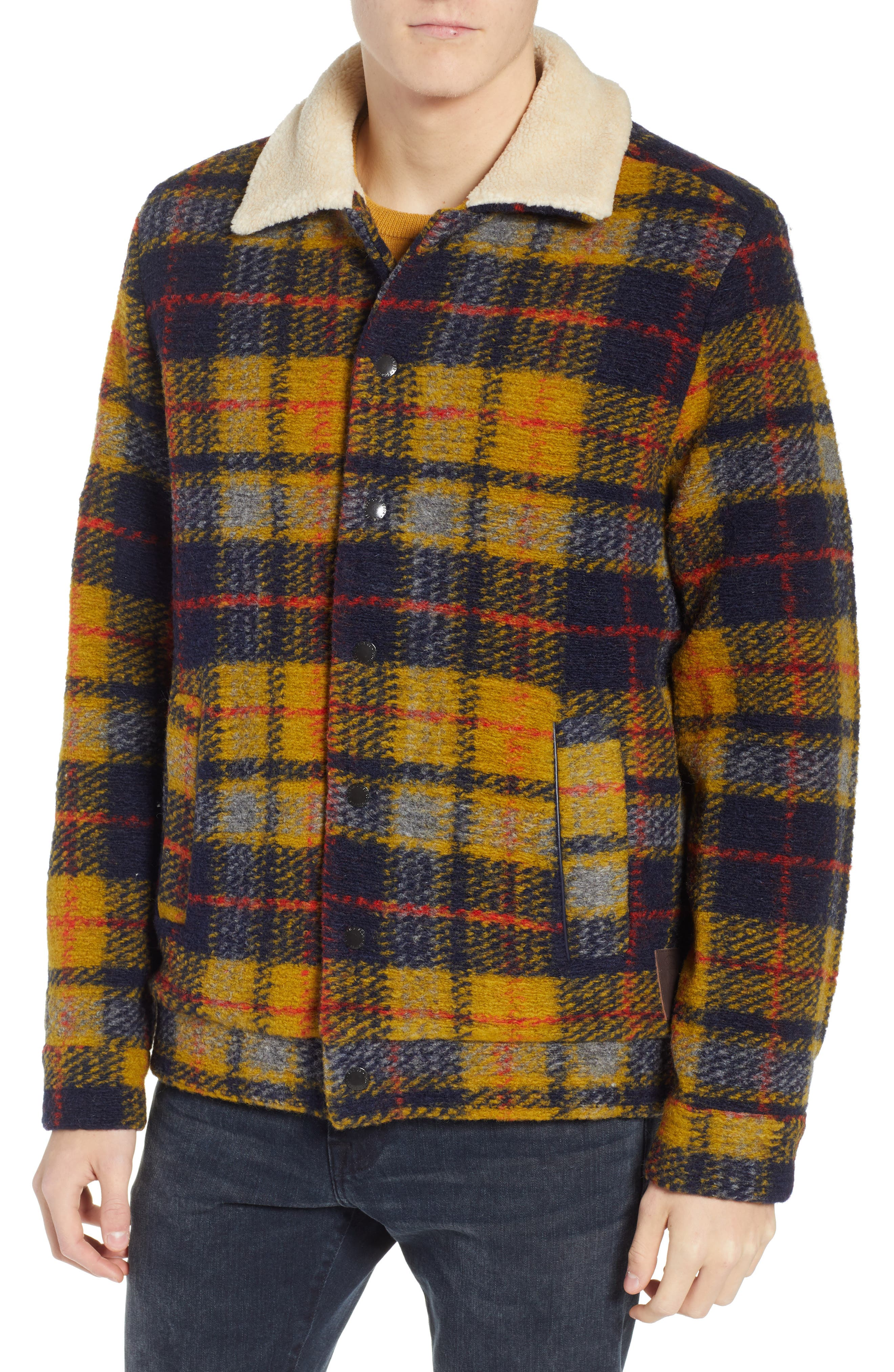 Plaid Faux Shearling Lined Wool Blend Trucker Jacket,                             Alternate thumbnail 4, color,                             COMBO A