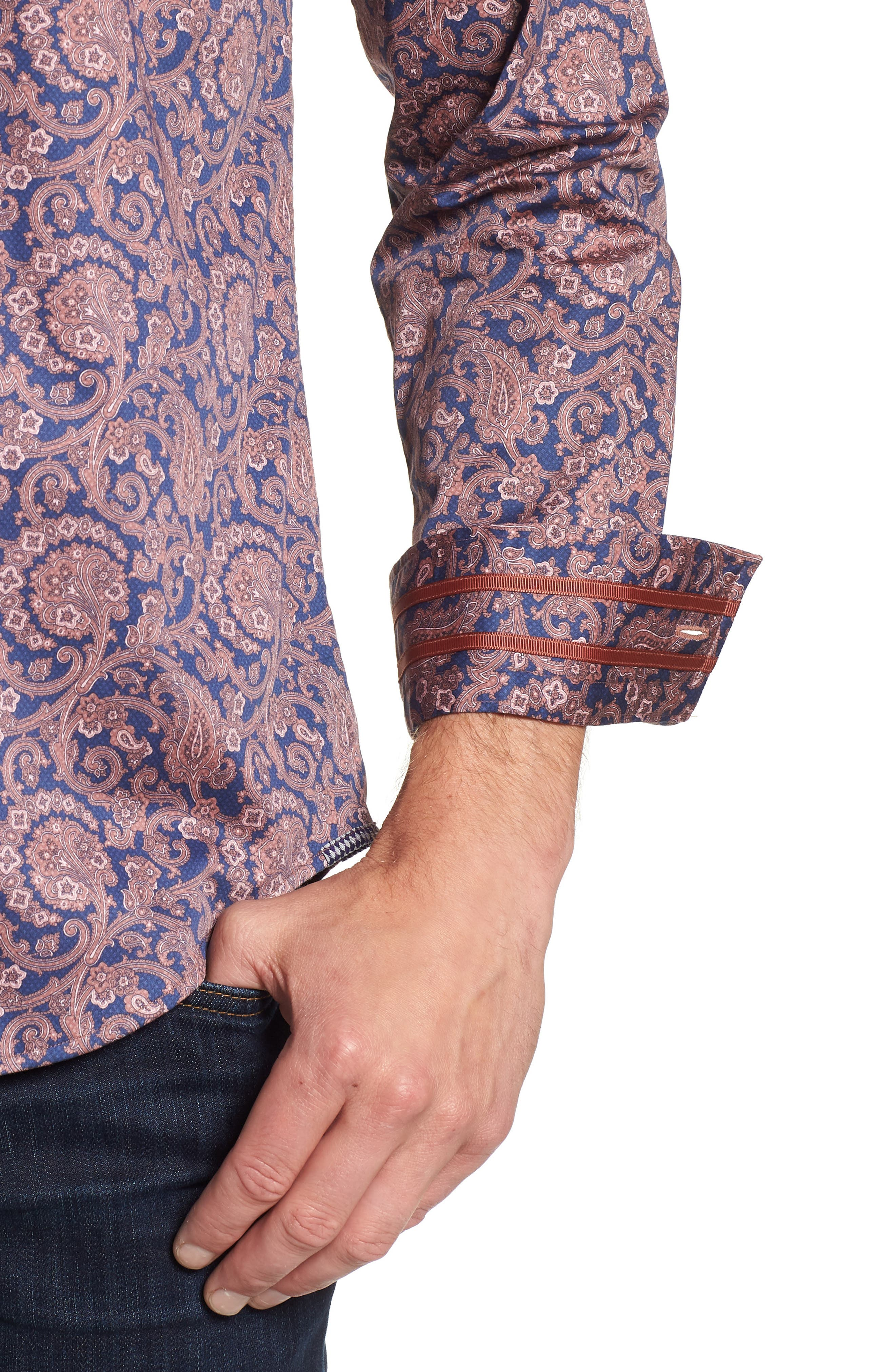 Lang Tailored Fit Print Sport Shirt,                             Alternate thumbnail 2, color,                             410