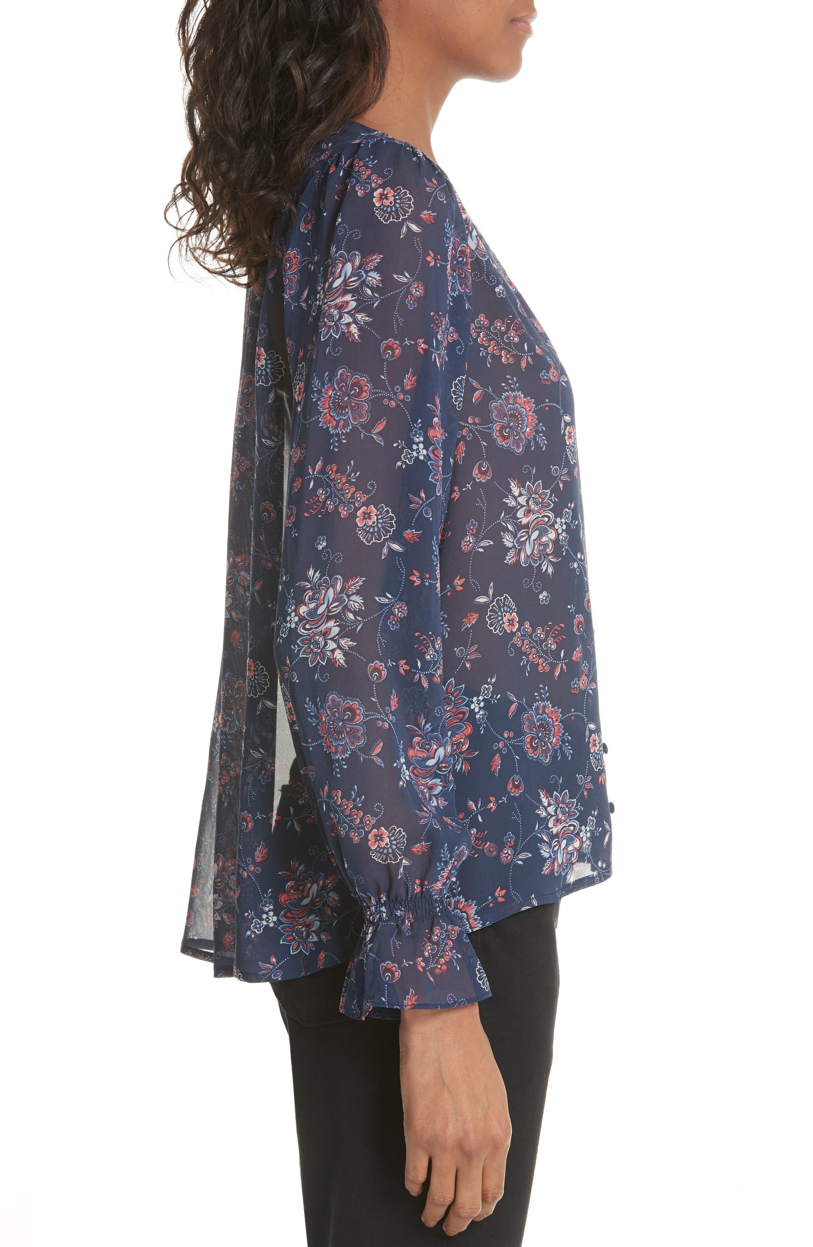 Bolona Floral Silk Blouse,                             Alternate thumbnail 3, color,                             418