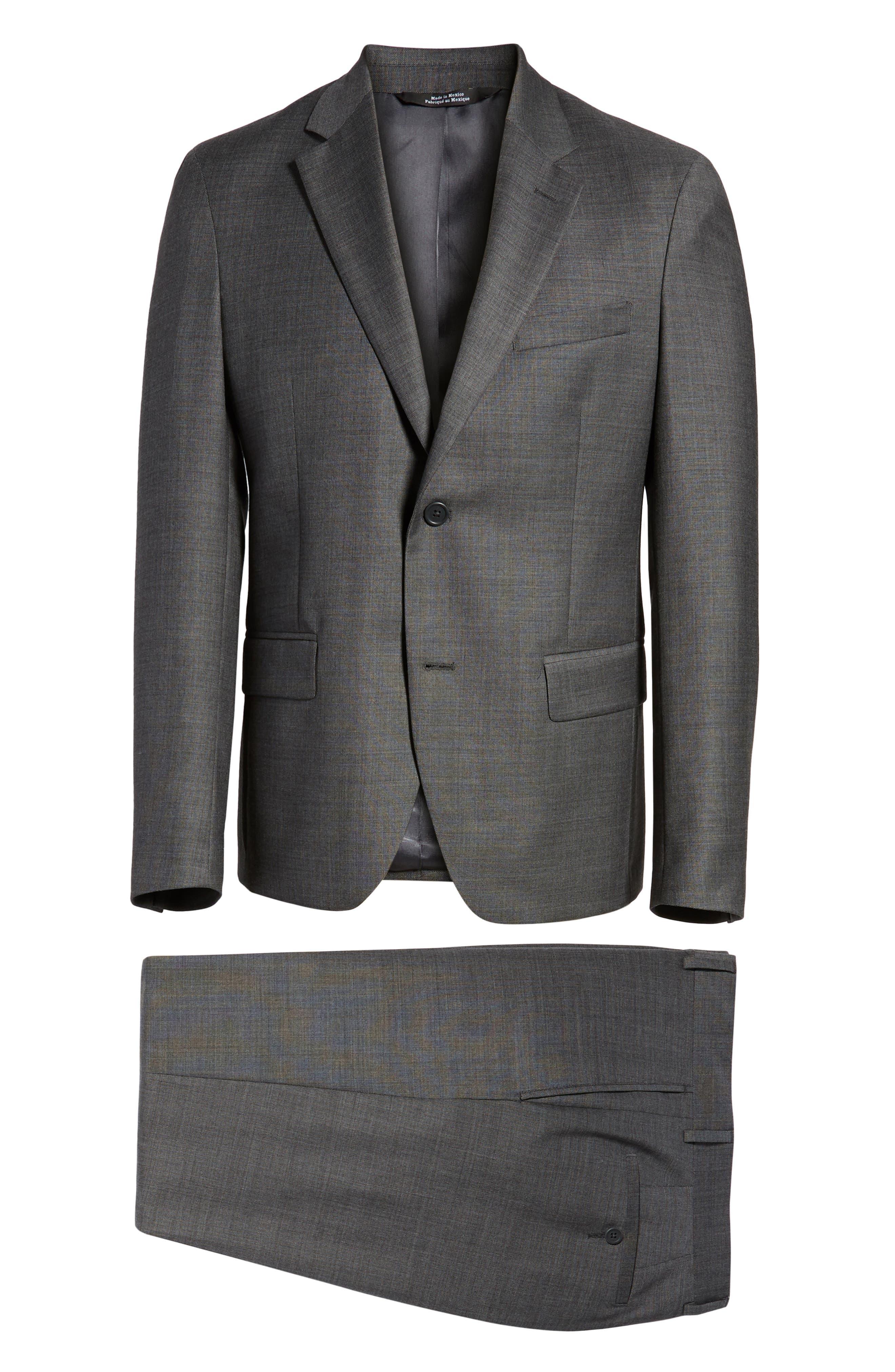 Trim Fit Sharkskin Wool Suit,                             Alternate thumbnail 7, color,                             MID GREY