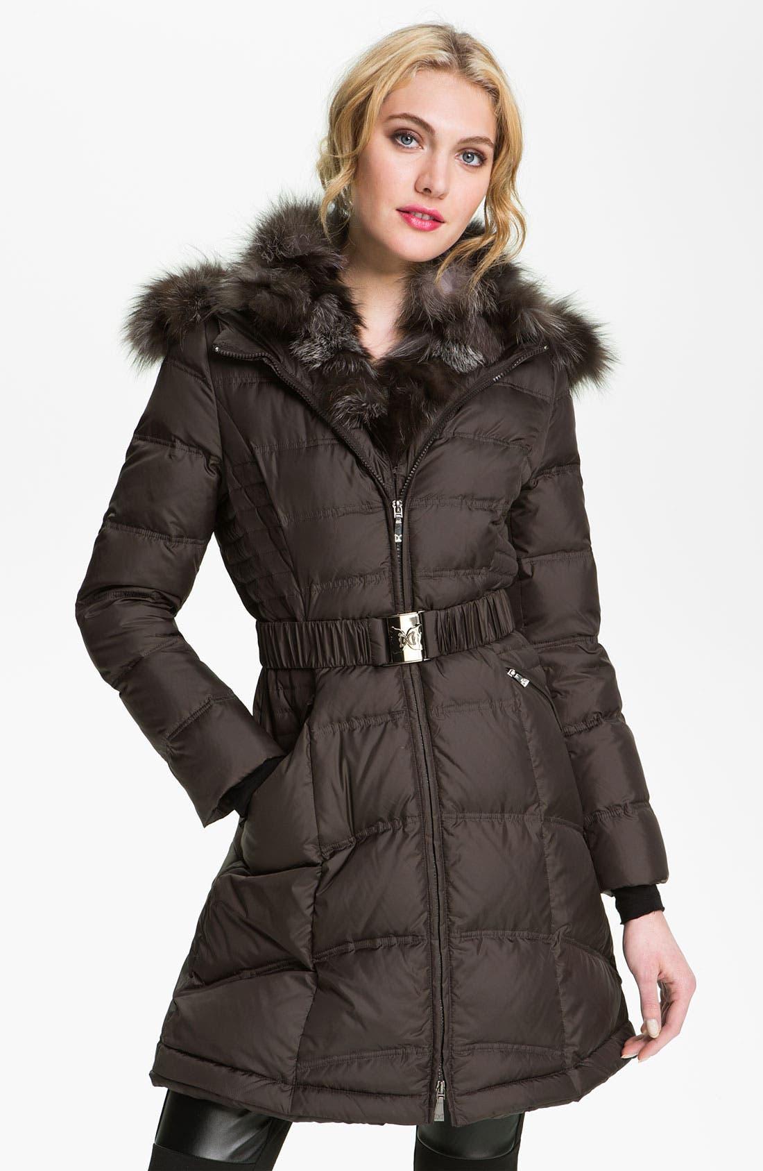 Down Coat with Genuine Fox Fur Trim,                             Main thumbnail 1, color,