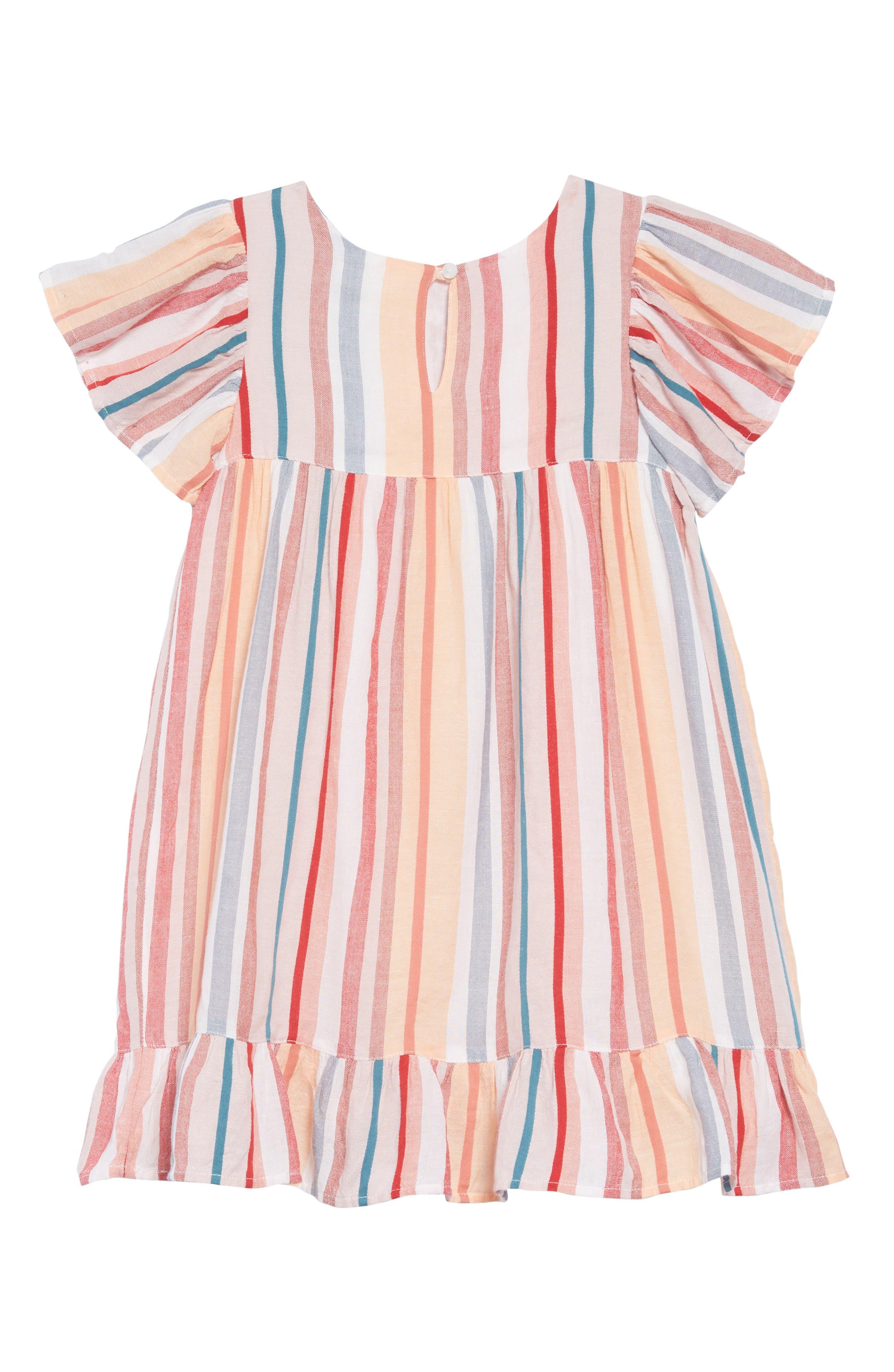 Embroidered Stripe Dress,                             Alternate thumbnail 2, color,                             IVORY EGRET MULTI STRIPE
