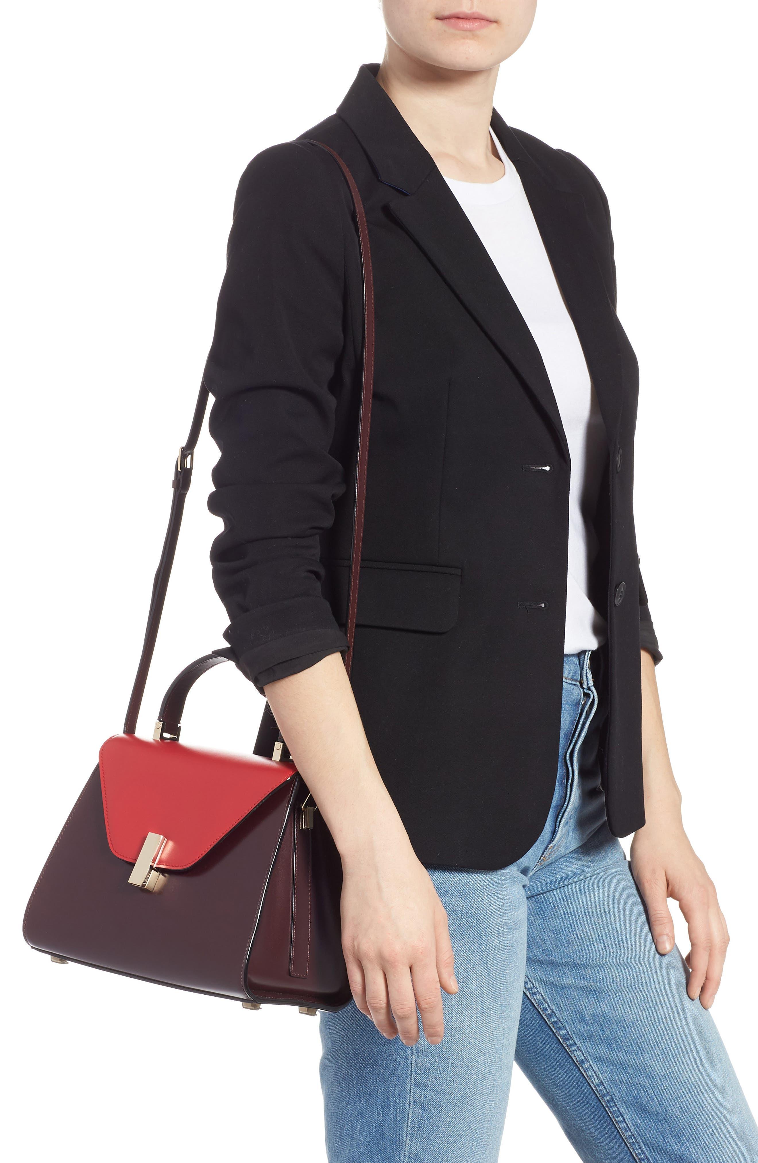 Iside Medium Colorblock Leather Top Handle Bag,                             Alternate thumbnail 2, color,                             FRAGOLA/ GRANATA