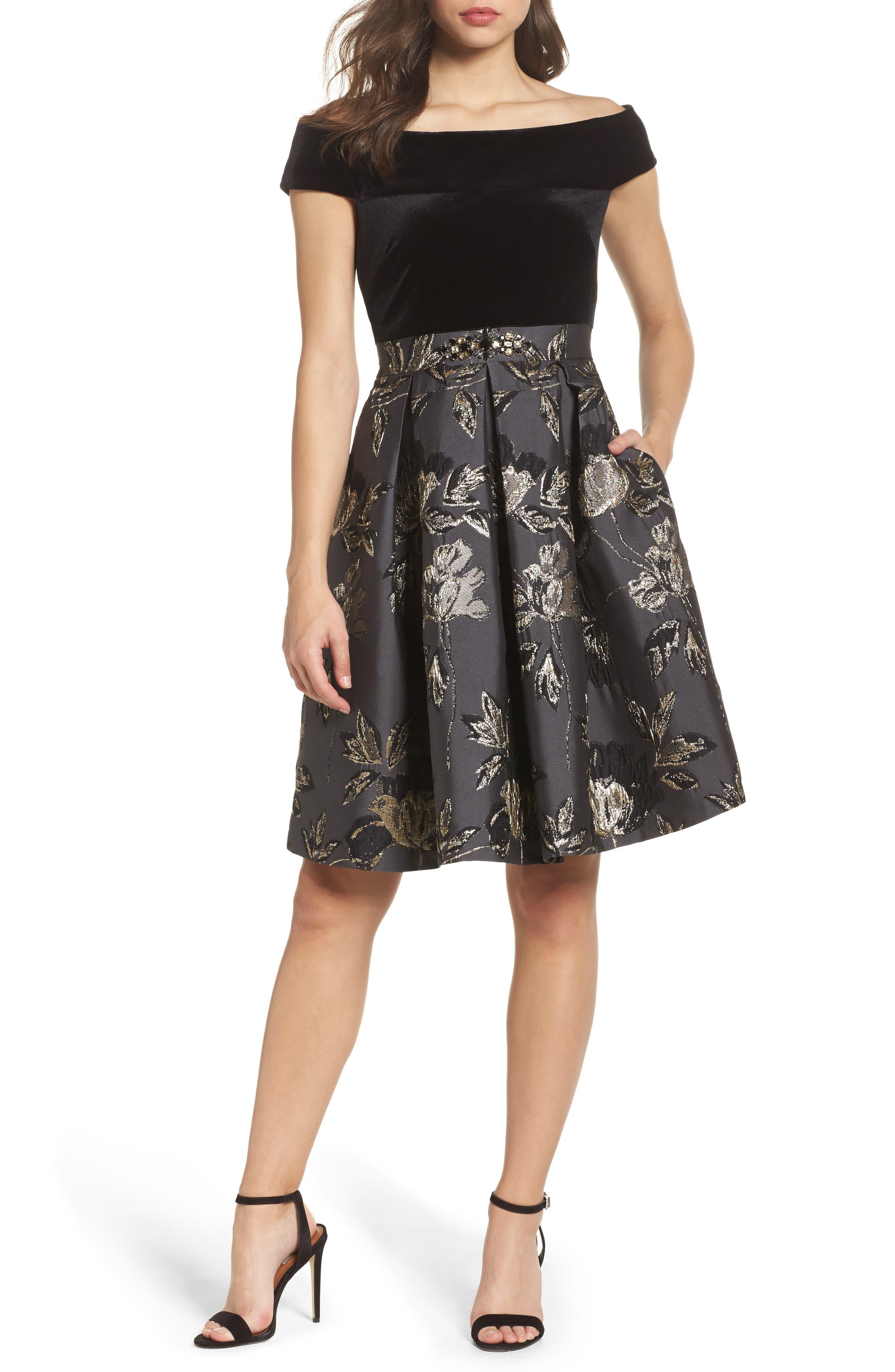 Off the Shoulder Metallic Dress,                         Main,                         color, 001