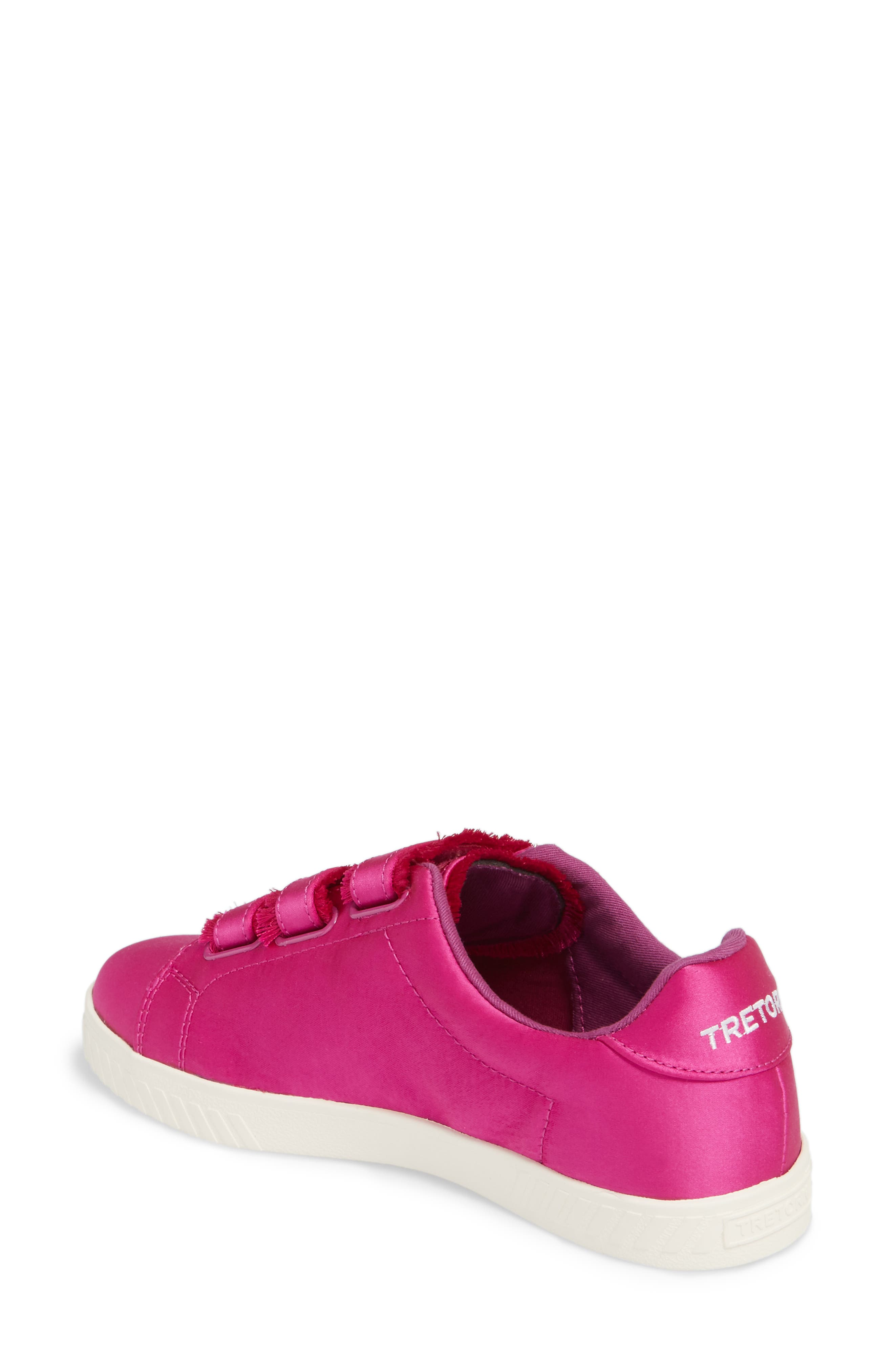 Fringed Strap Sneaker,                             Alternate thumbnail 2, color,                             FUCHSIA SATIN