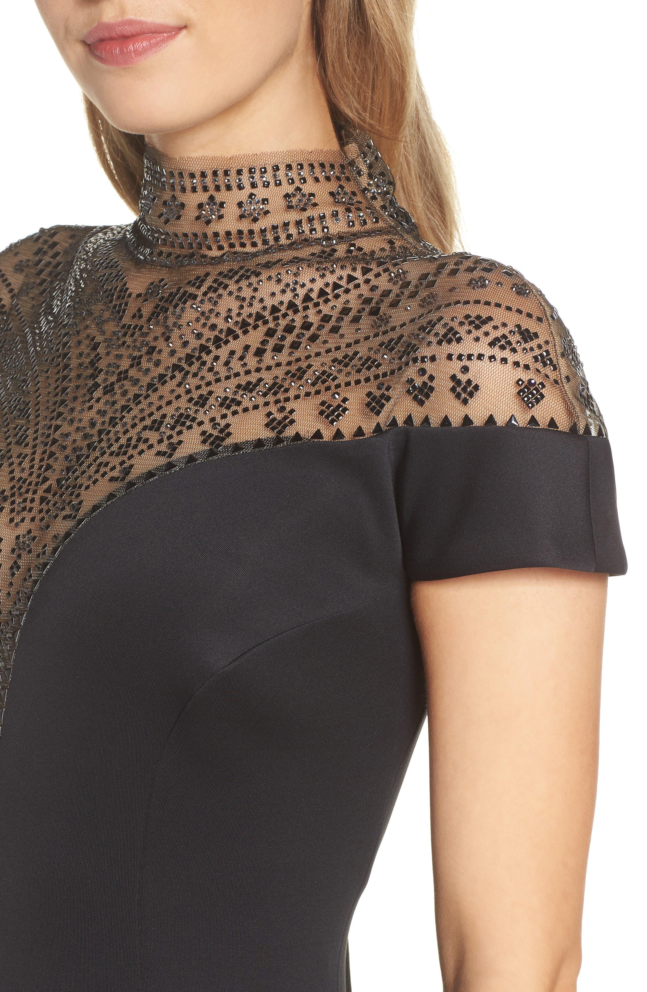 Embellished Illusion Body-Con Dress,                             Alternate thumbnail 4, color,                             BLACK
