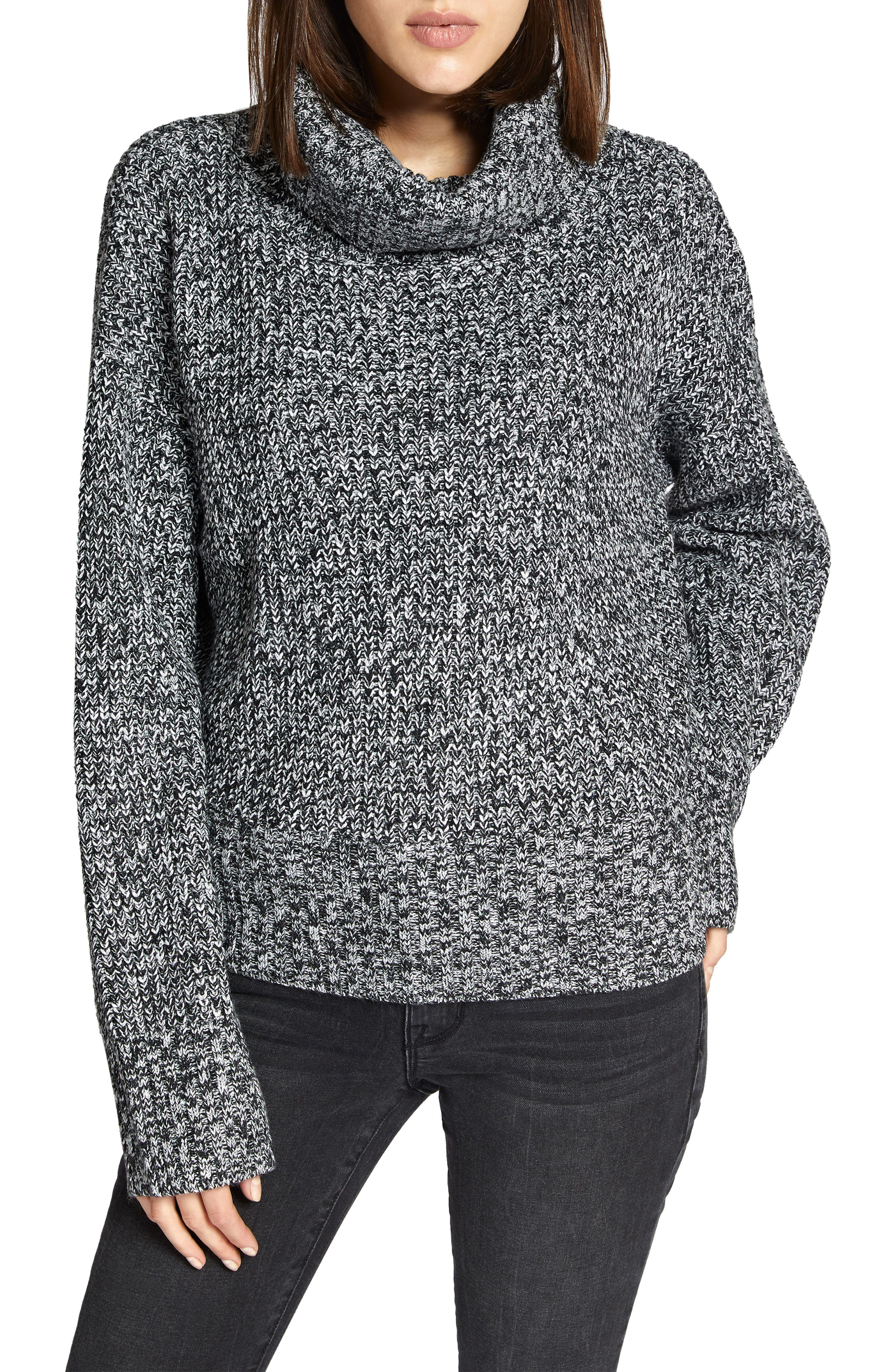 Cowl Neck Shaker Sweater,                         Main,                         color, BLACK/ WINTER