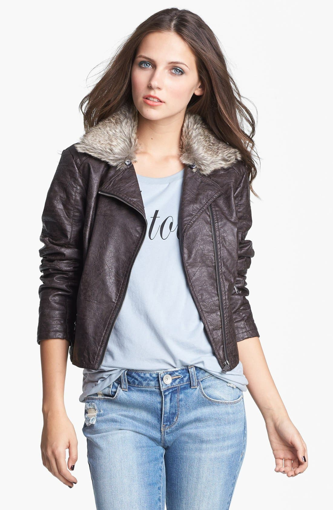 Faux Leather Moto Jacket With Faux Fur Collar,                             Main thumbnail 1, color,                             208