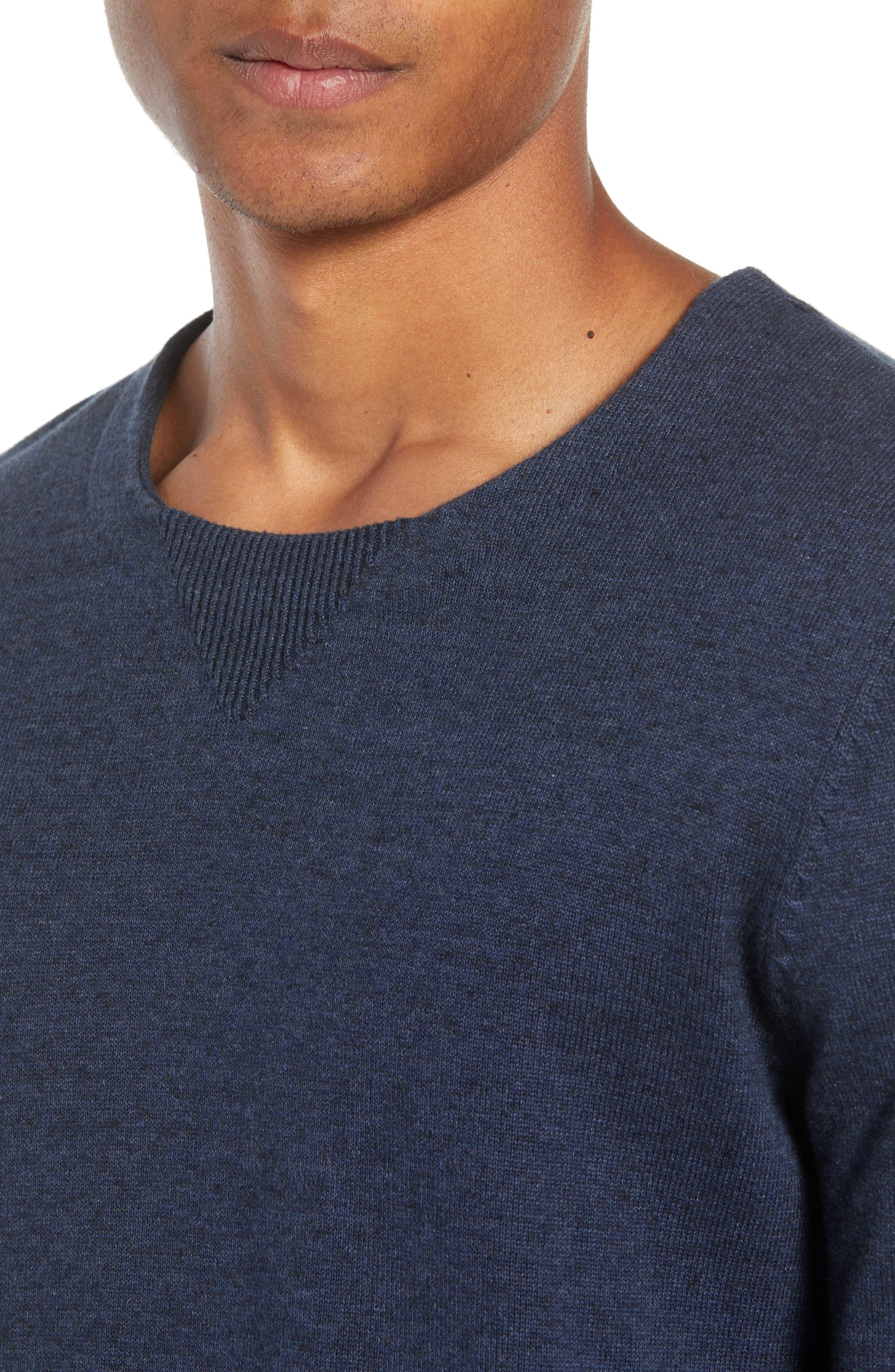 McGill Slim Fit Crewneck Sweater,                             Alternate thumbnail 4, color,                             HEATHER NAVY