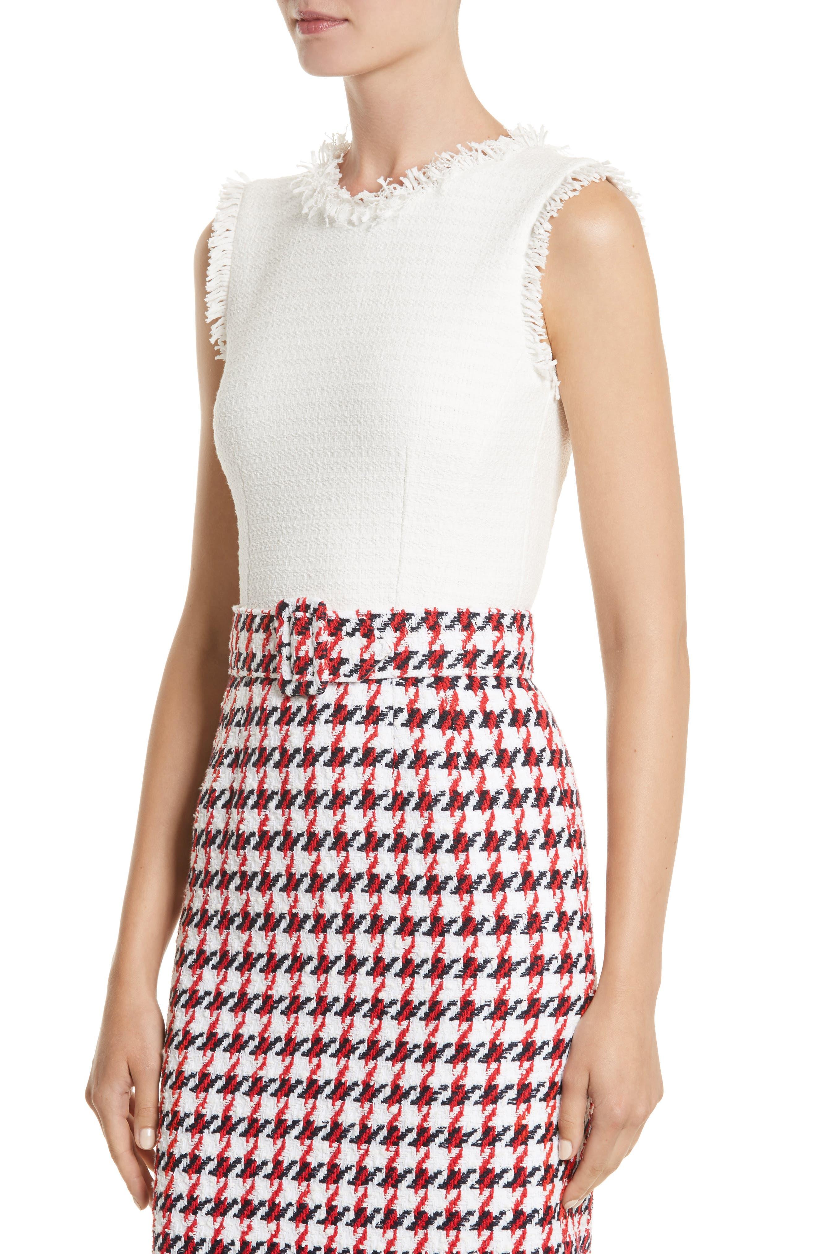 Bicolor Houndstooth Tweed Dress,                             Alternate thumbnail 4, color,                             900