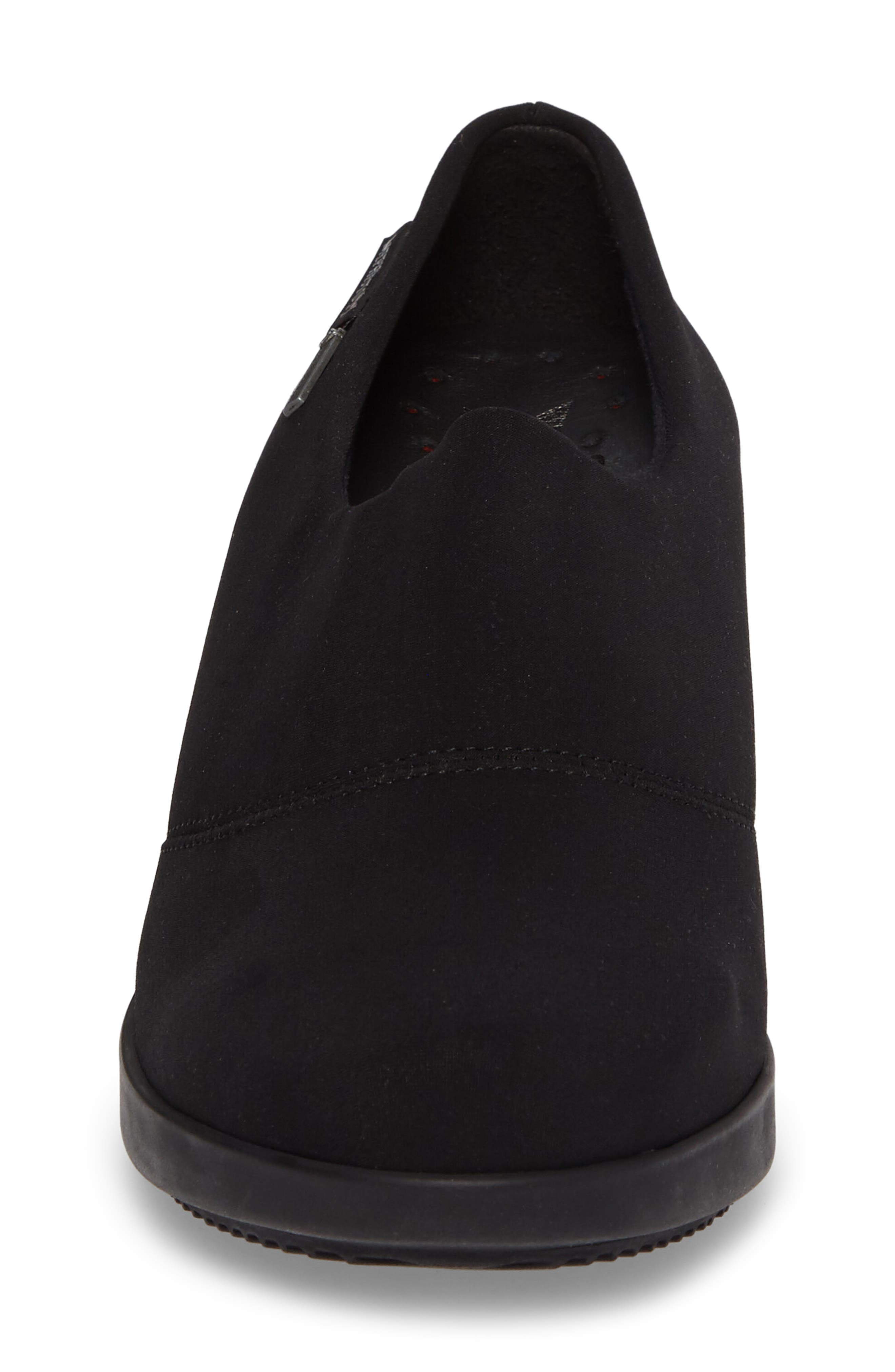 Molly Waterproof Wedge,                             Alternate thumbnail 4, color,                             BLACK FABRIC
