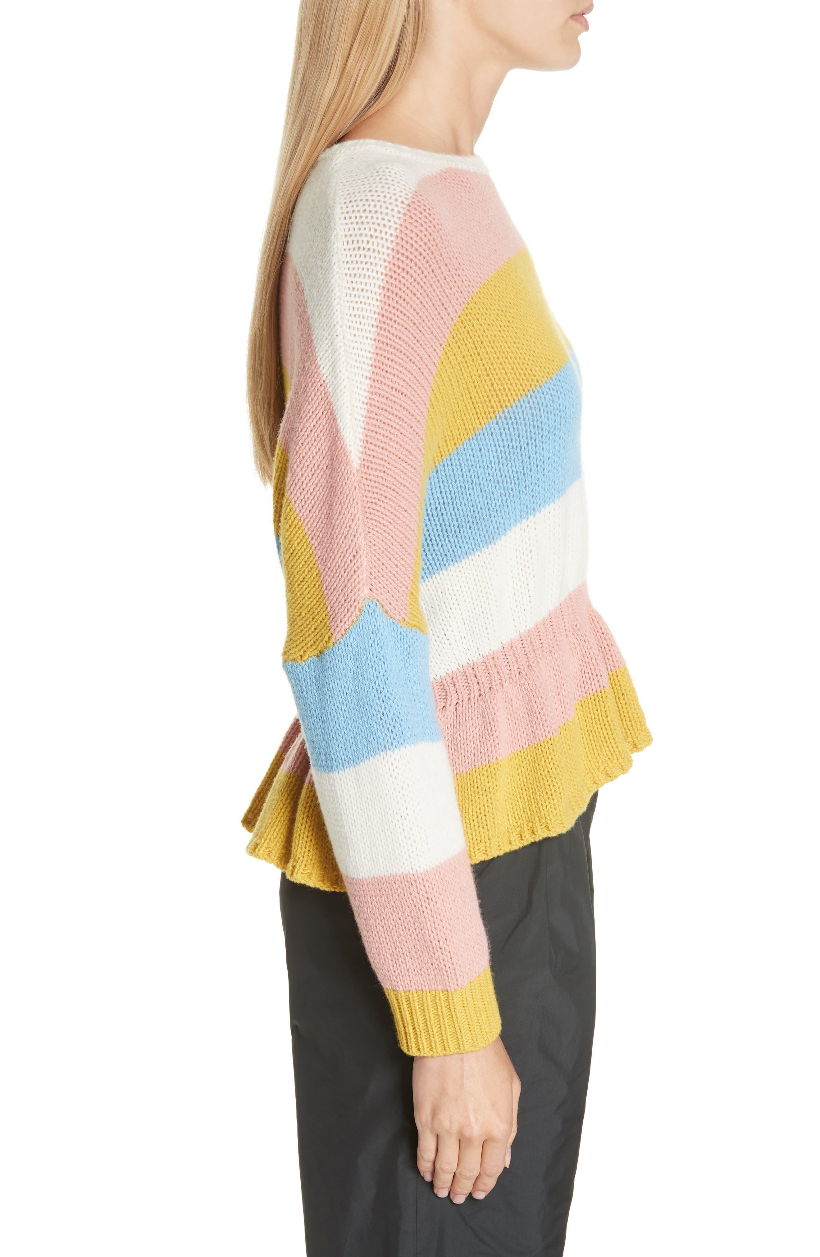 RED VALENTINO,                             Ruffle Hem Stripe Wool Sweater,                             Alternate thumbnail 3, color,                             110