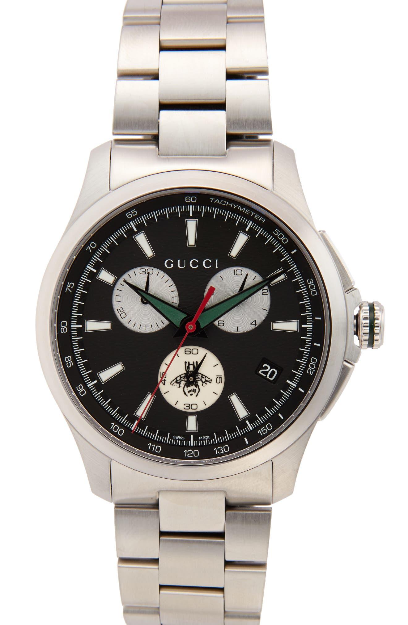 G Timeless Chronograph Bracelet Watch, 45mm,                         Main,                         color, SILVER/ BLACK/ SILVER