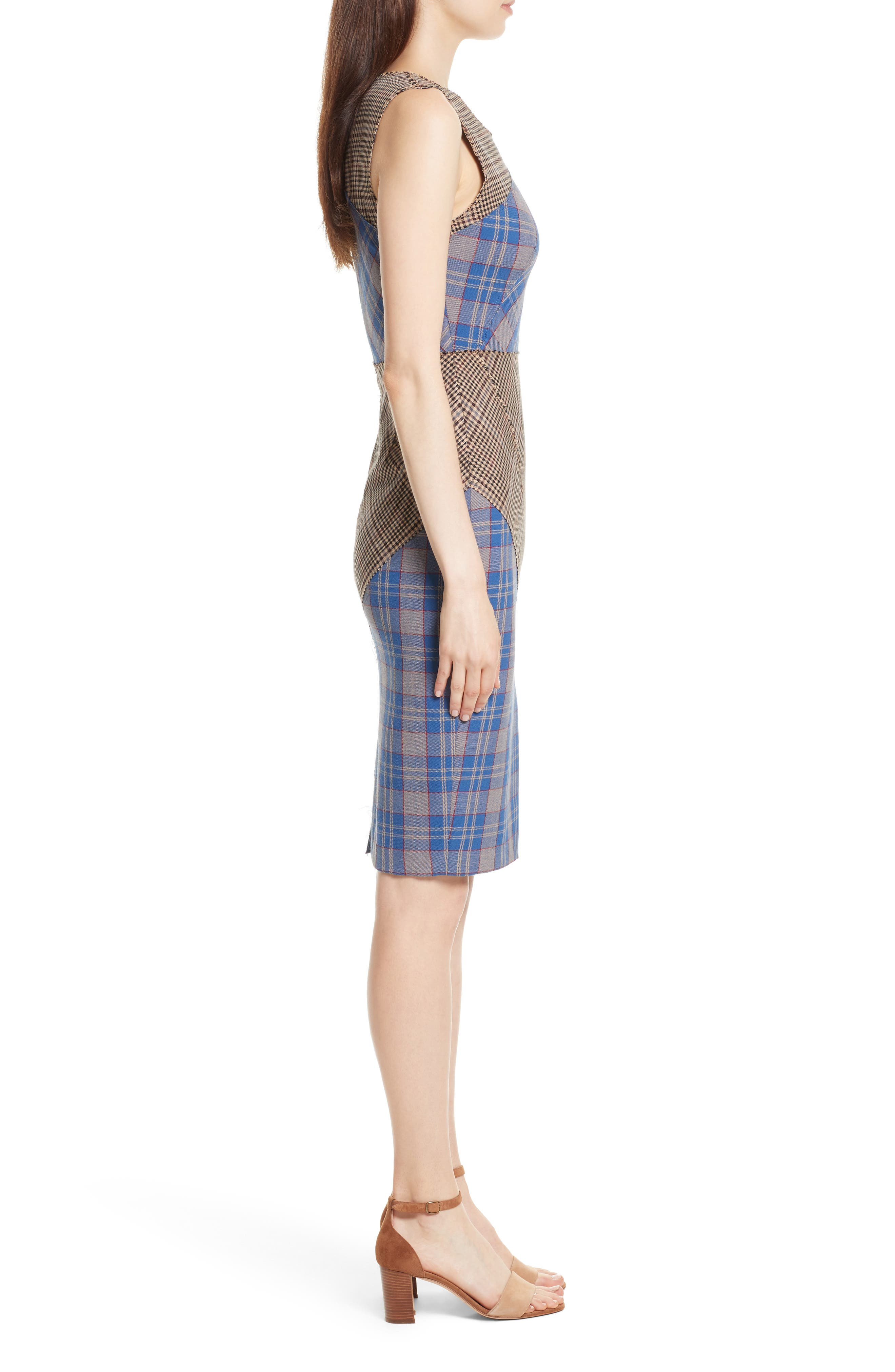 Patchwork Plaid Sheath Dress,                             Alternate thumbnail 3, color,                             459