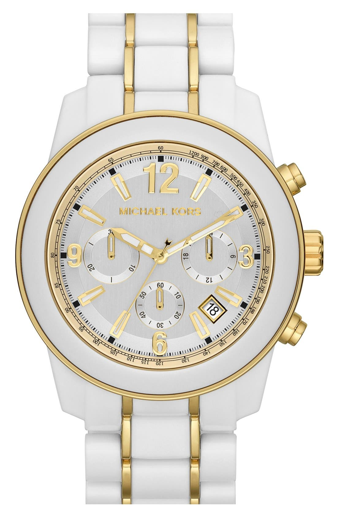 MICHAEL MICHAEL KORS,                             Michael Kors 'Preston' Chronograph Bracelet Watch, 43mm,                             Main thumbnail 1, color,                             100