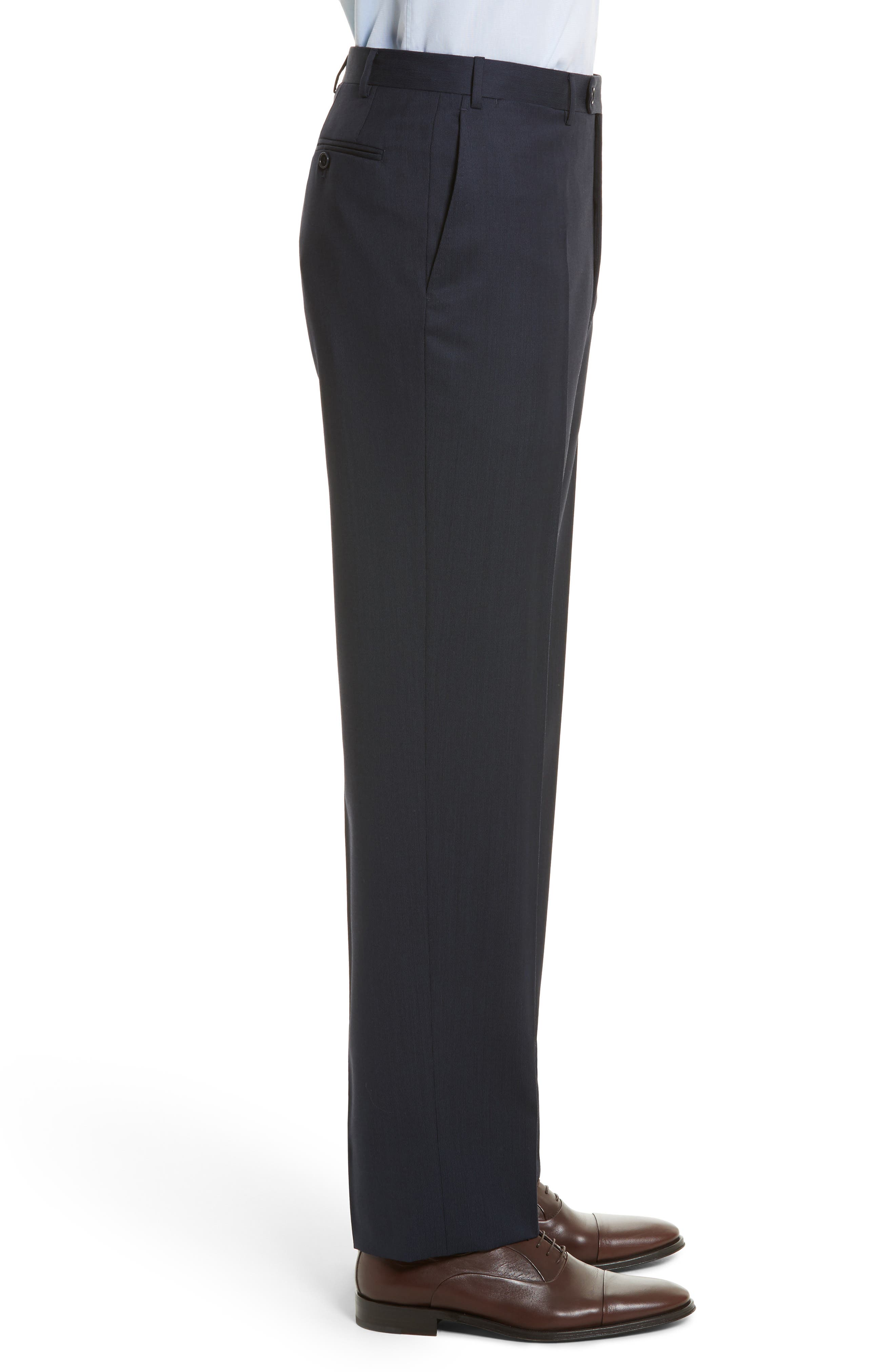 Flat Front Stripe Wool Trousers,                             Alternate thumbnail 16, color,
