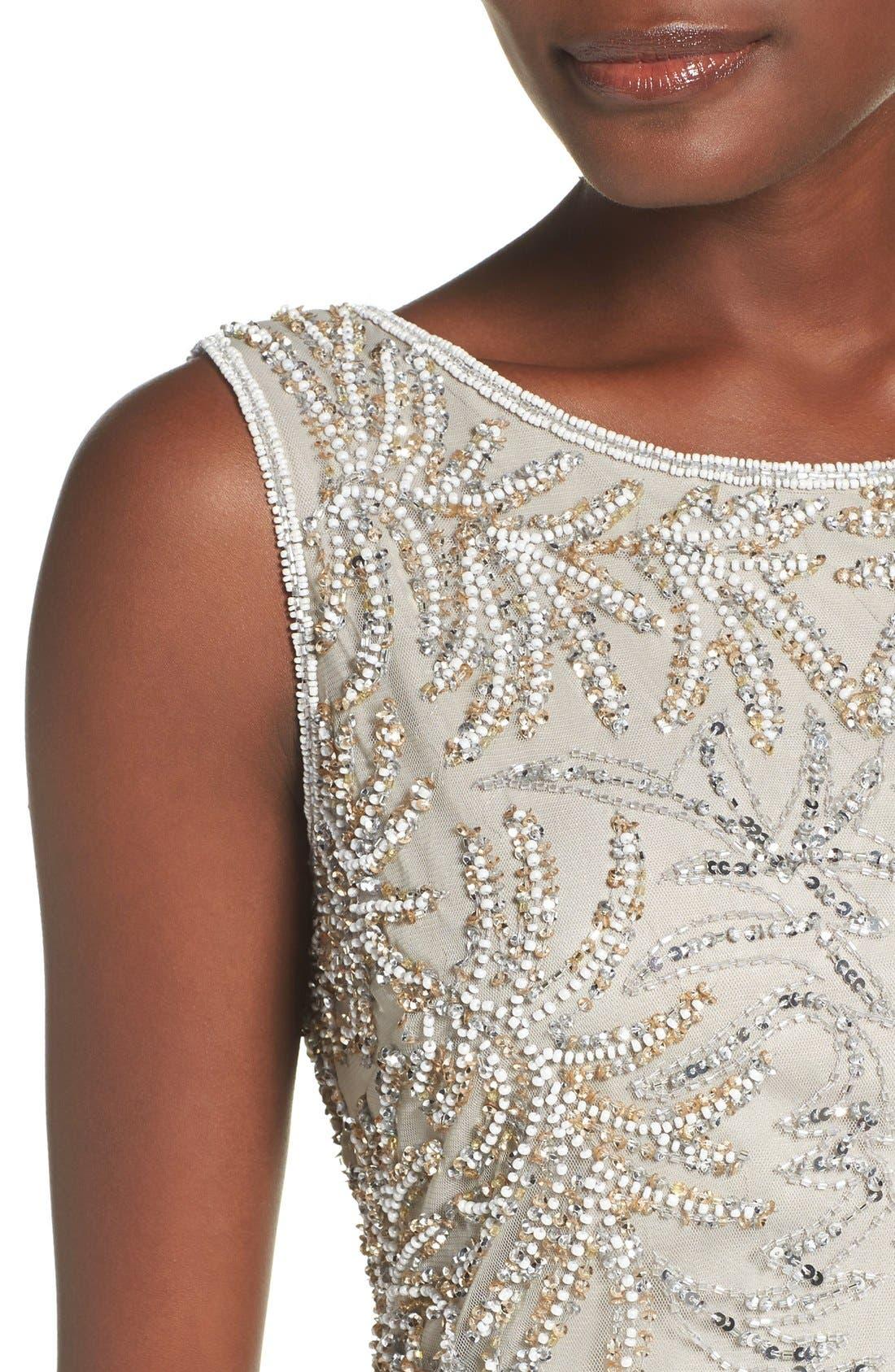Embellished Mesh Sheath Dress,                             Alternate thumbnail 5, color,                             040