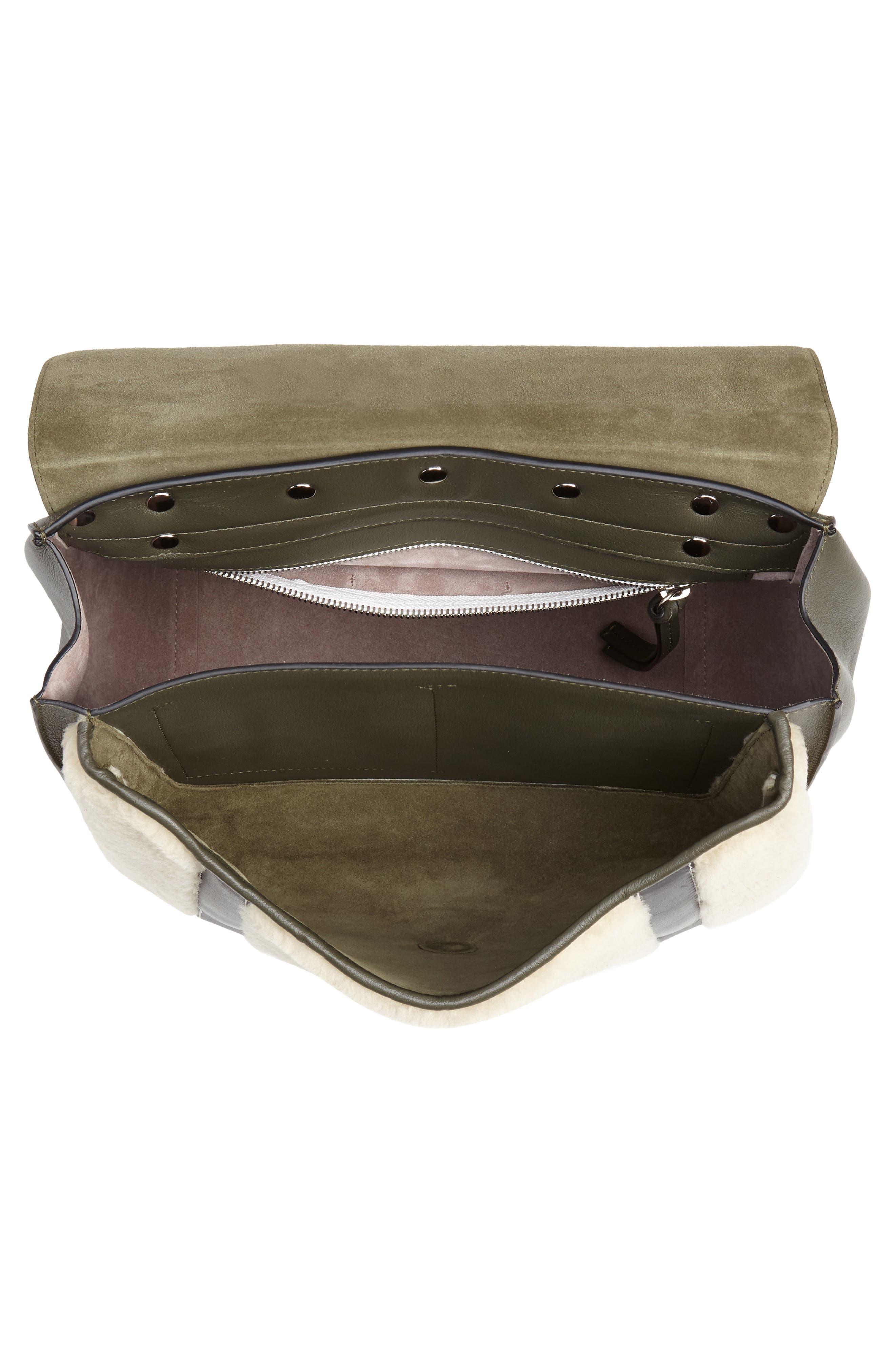 JW ANDERSON,                             Large Disc Leather & Genuine Shearling Satchel,                             Alternate thumbnail 4, color,                             KHAKI