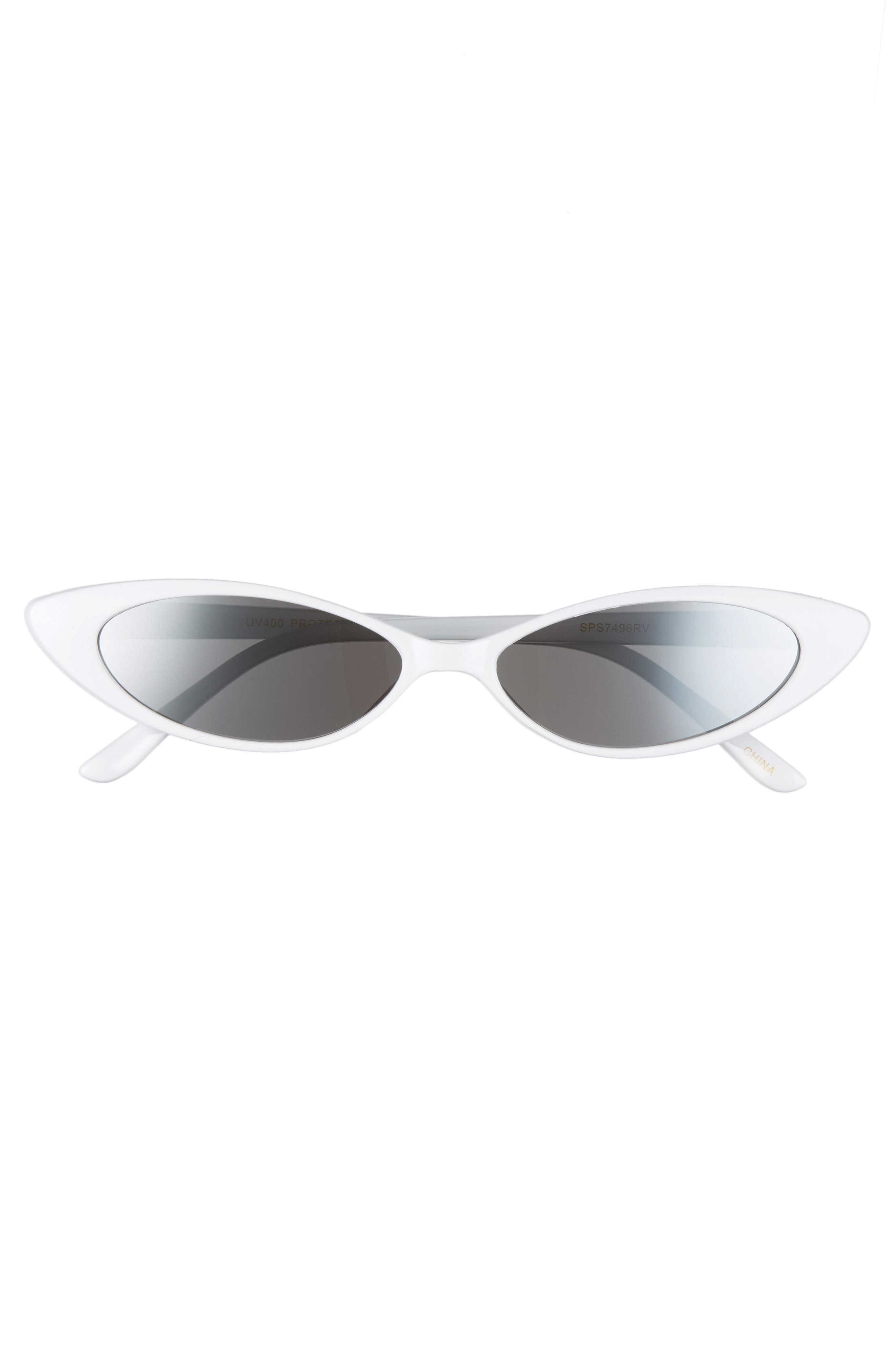 Oval Sunglasses,                             Alternate thumbnail 3, color,                             WHITE/ SILVER