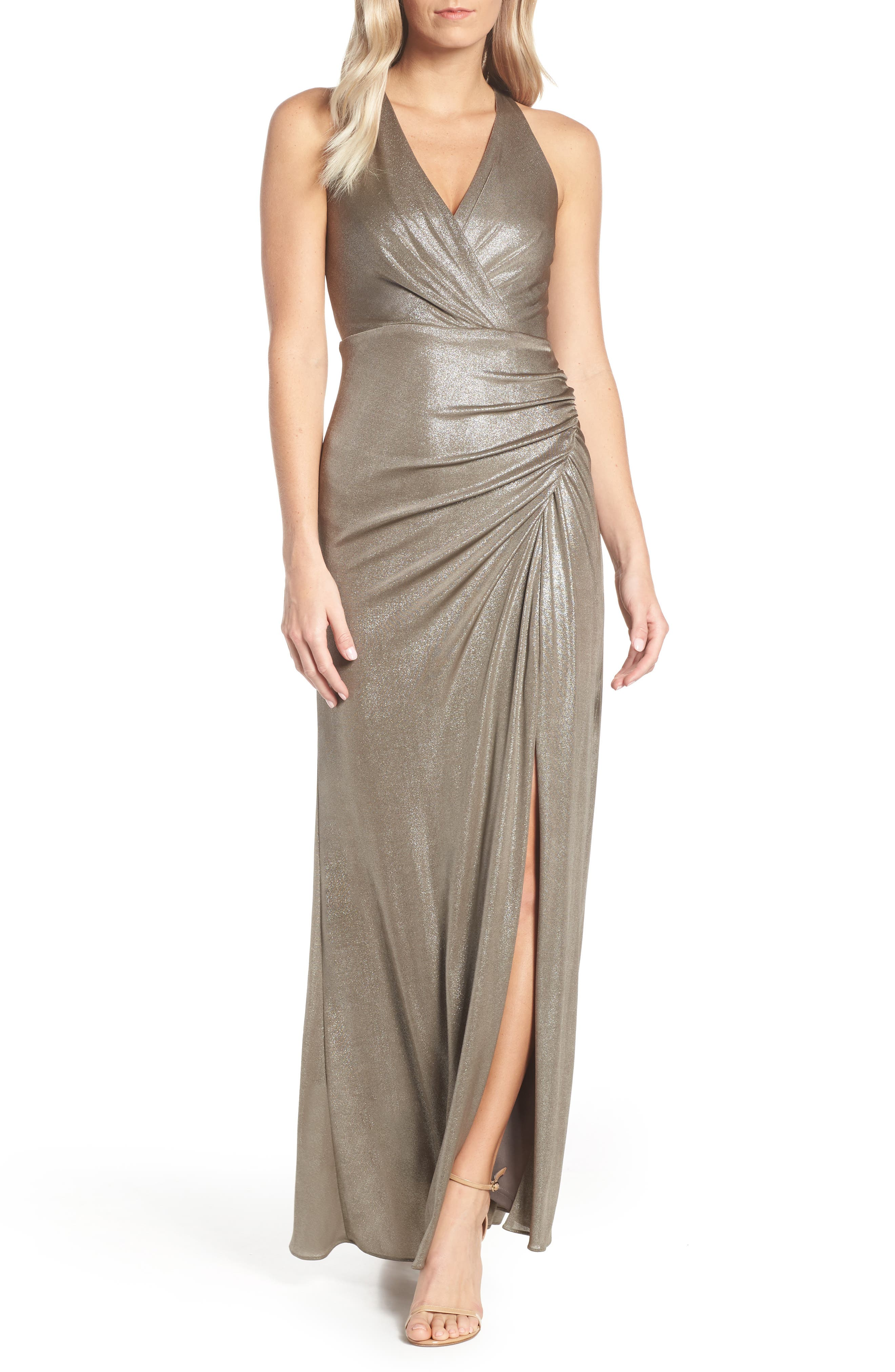 Ruched Metallic Jersey Gown, Main, color, MINK