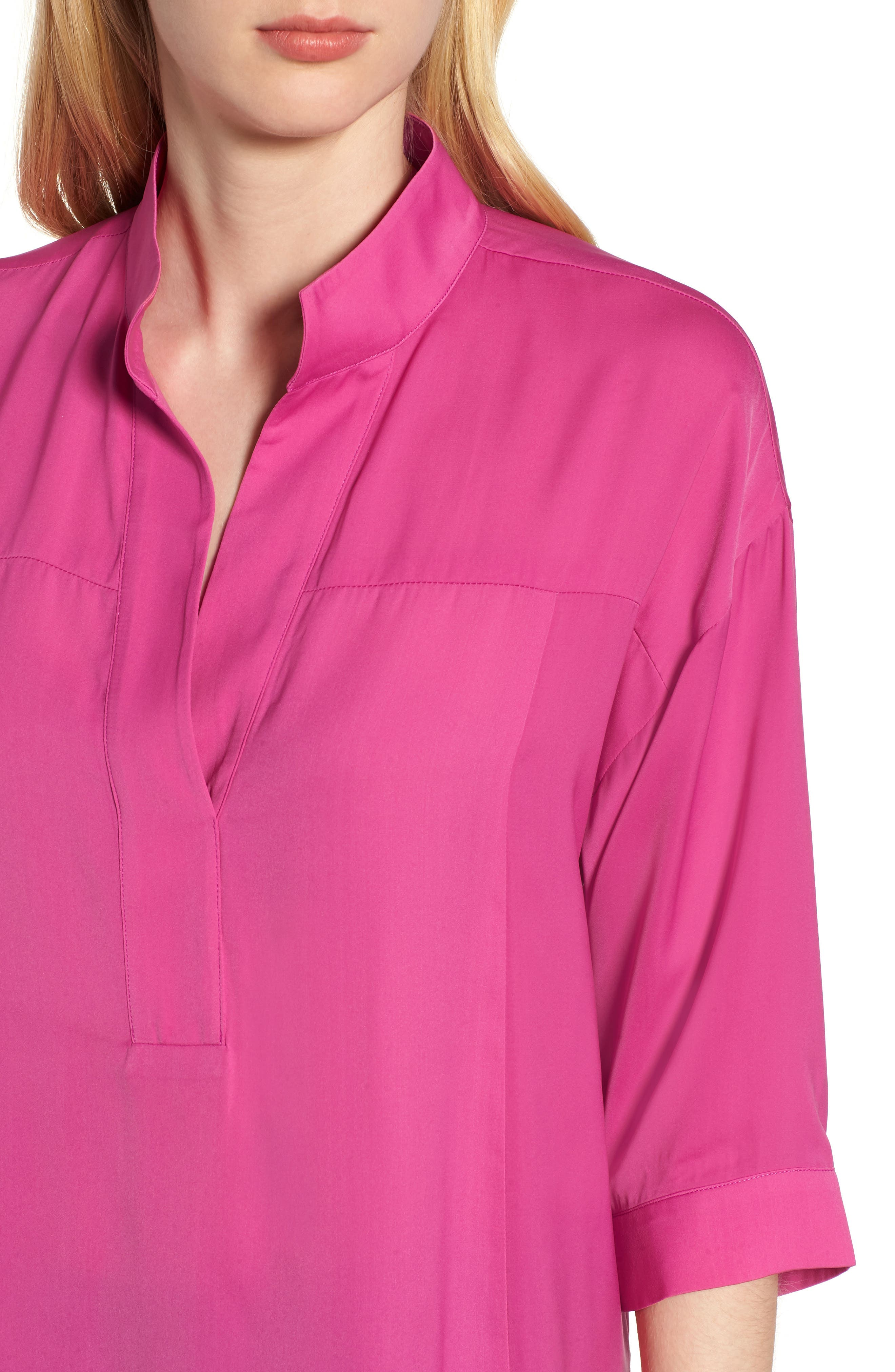 Split Neck Blouse,                             Alternate thumbnail 4, color,                             HIBISCUS