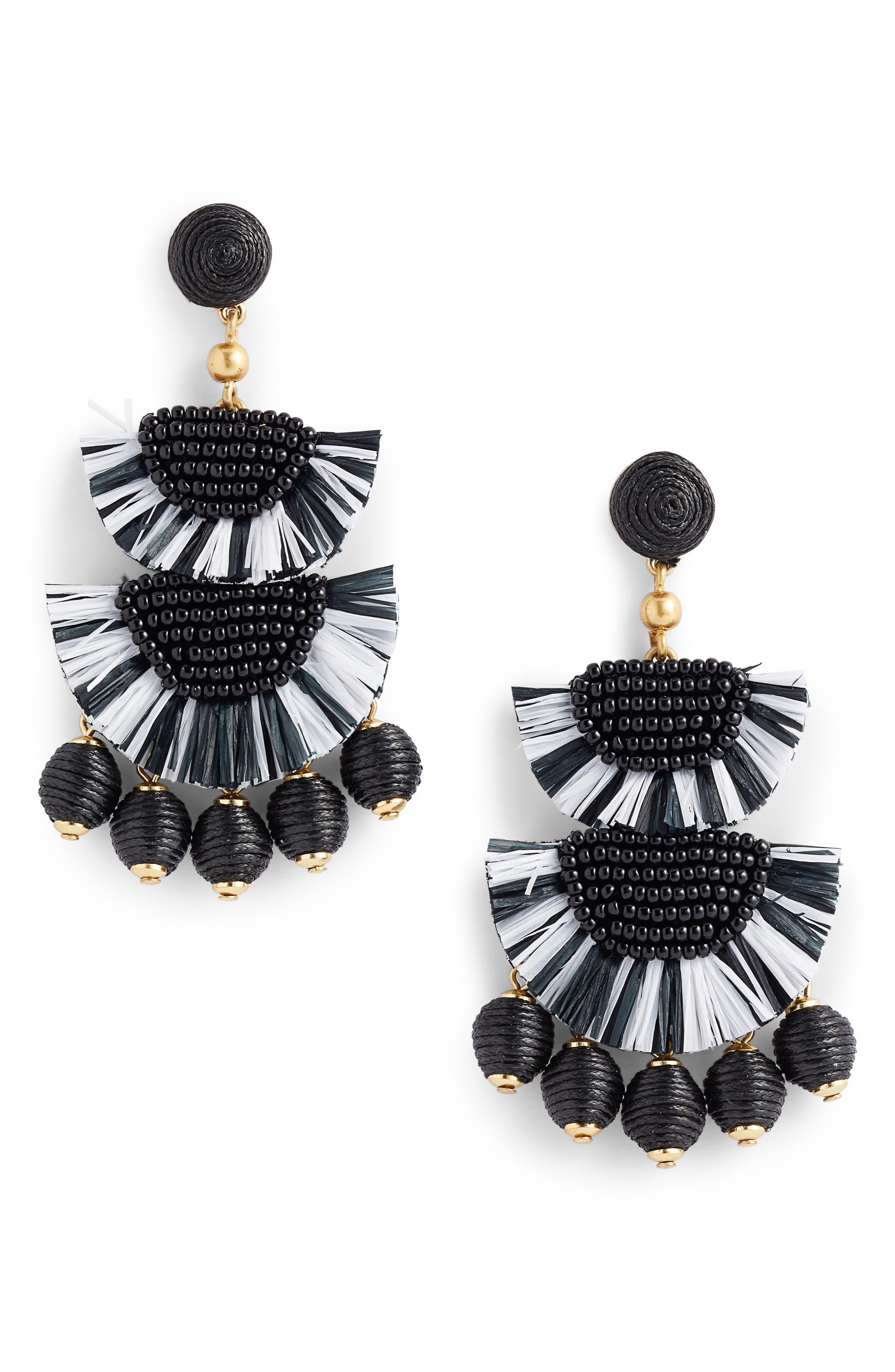 Bead & Raffia Earrings,                         Main,                         color, 001