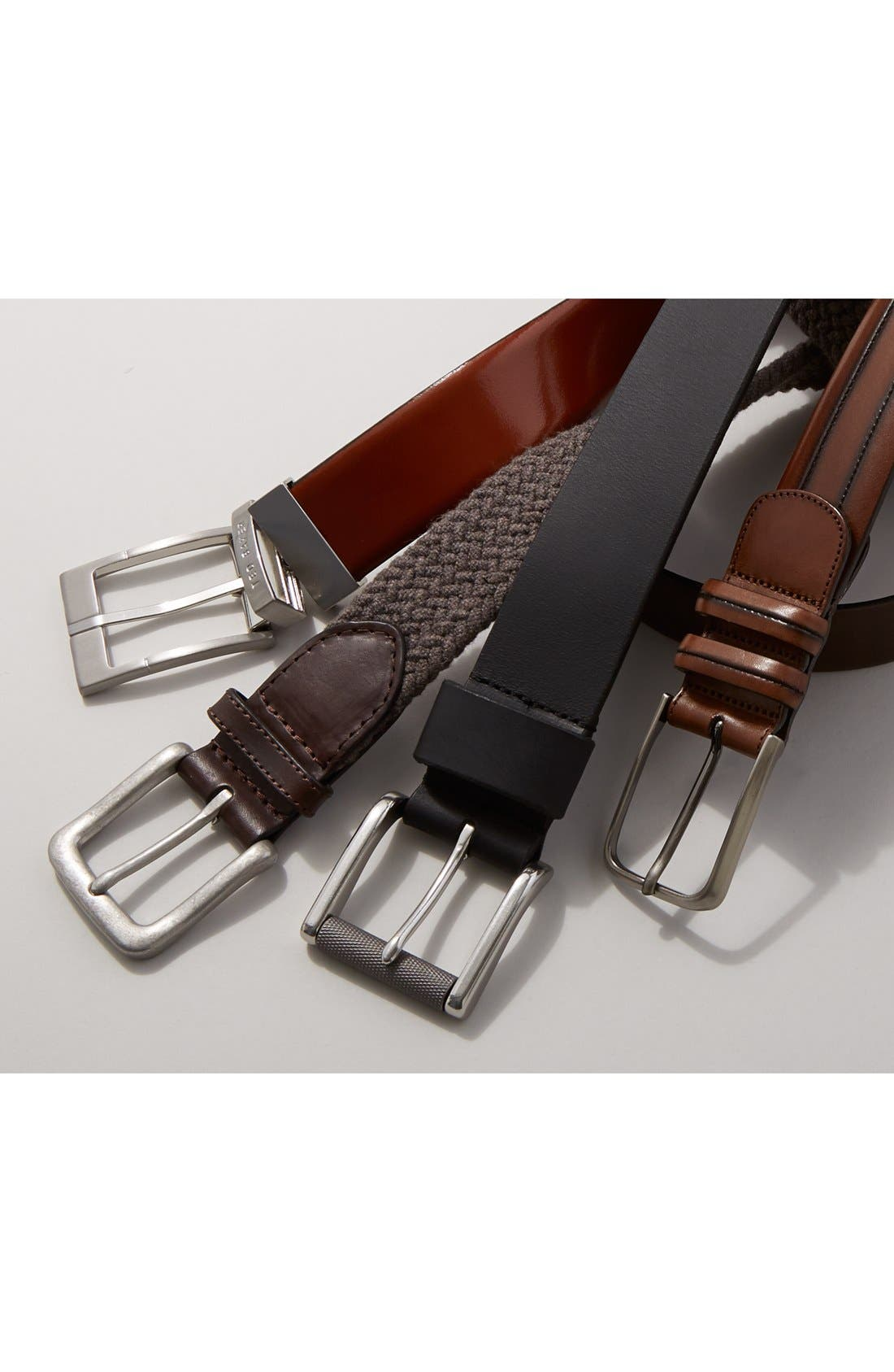 Reversible Leather Belt,                             Alternate thumbnail 5, color,                             BLACK/ DARK BROWN