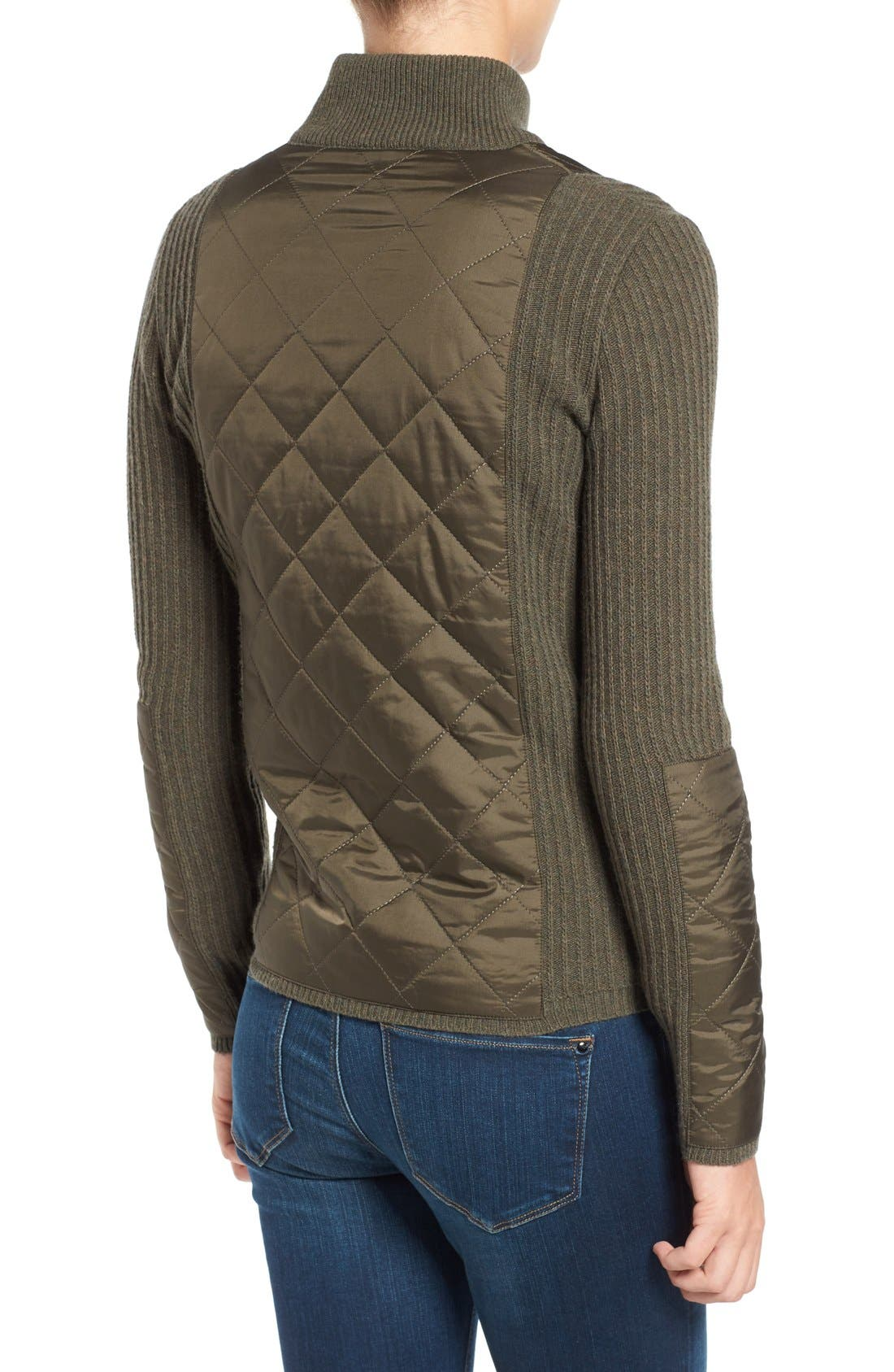 'Sporting' Zip Front Quilted Jacket,                             Alternate thumbnail 4, color,