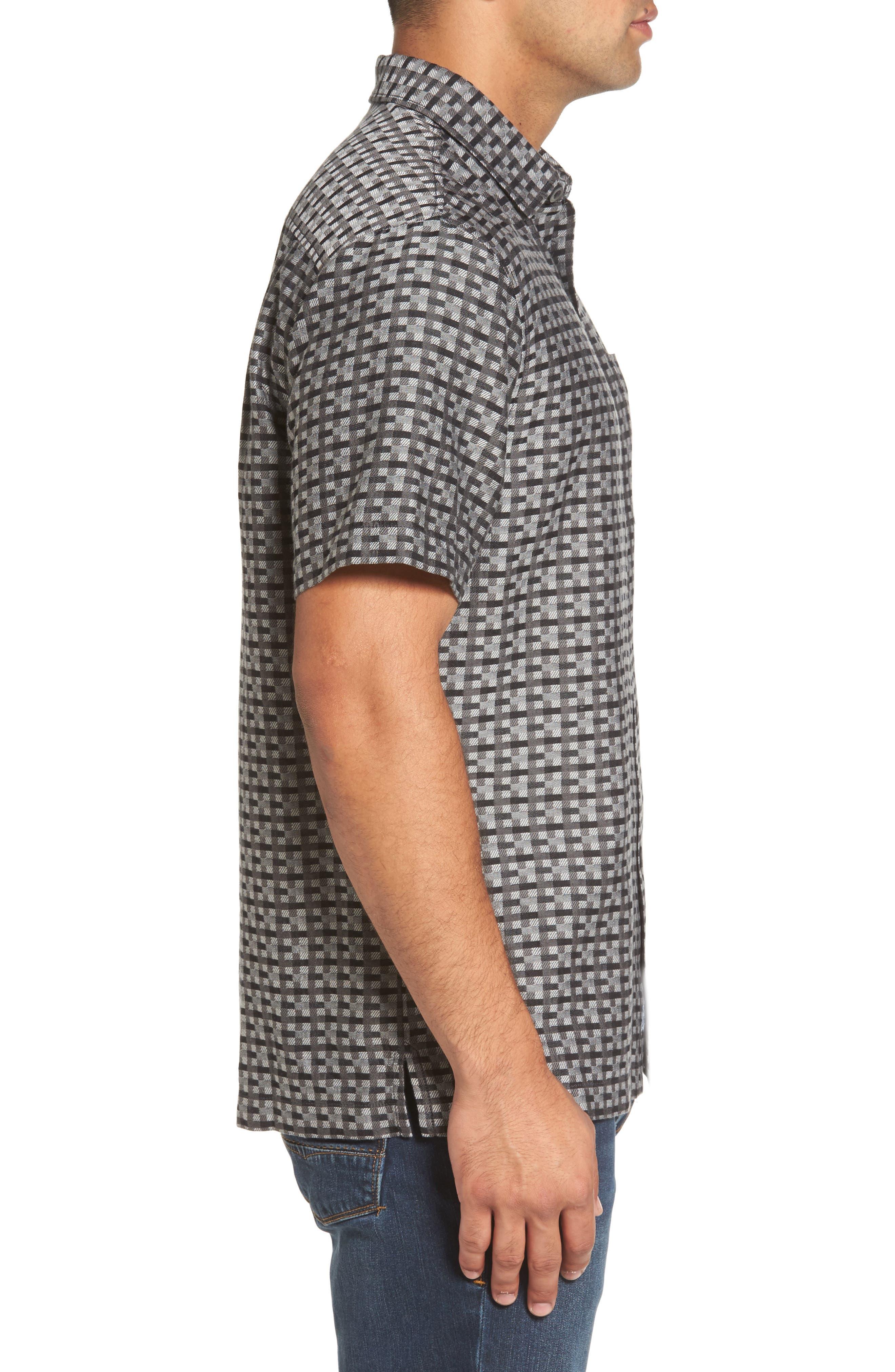 Moroccan Squares Standard Fit Silk Blend Camp Shirt,                             Alternate thumbnail 5, color,