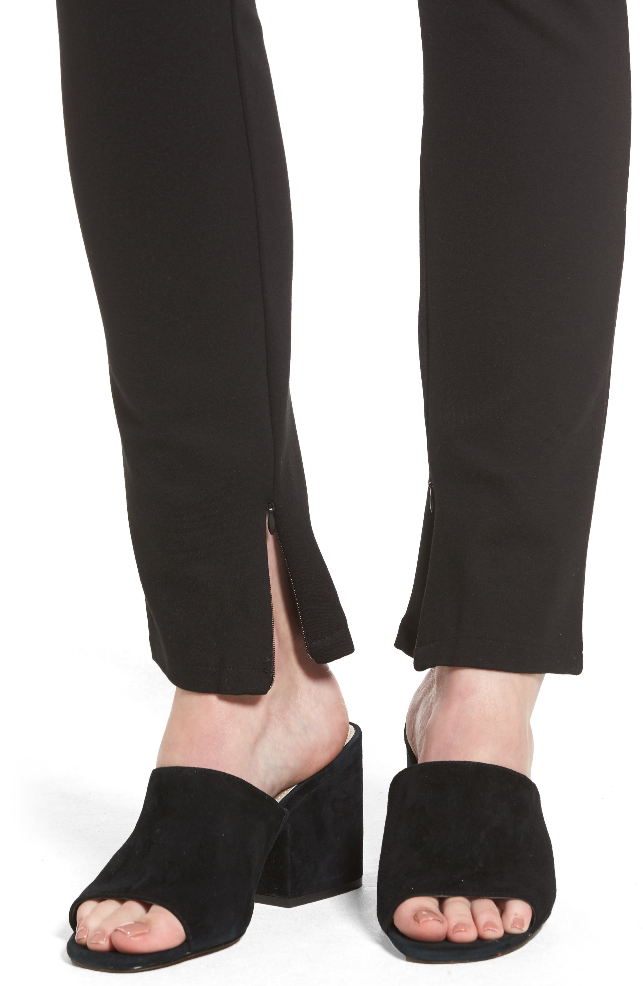 Ankle Zip Slim Ponte Pants,                             Alternate thumbnail 4, color,                             002