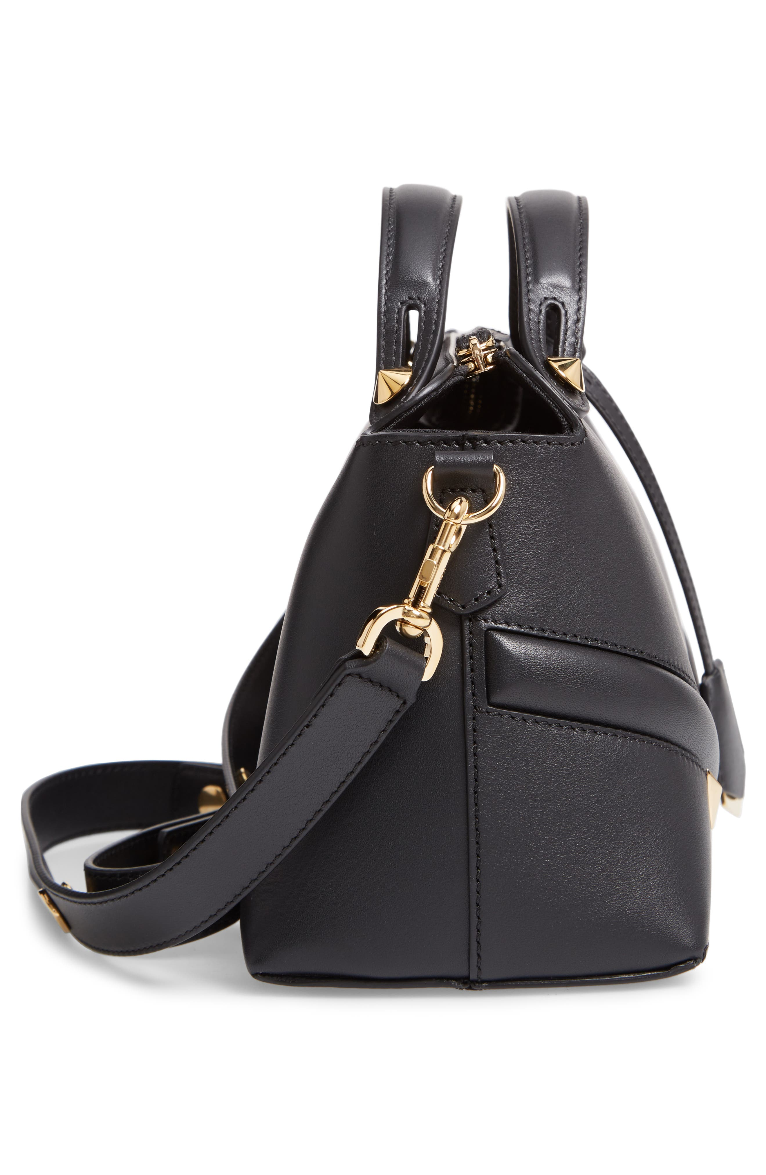 By the Way - Wonders Convertible Leather Shoulder Bag,                             Alternate thumbnail 5, color,                             NERO/ ORO SOFT