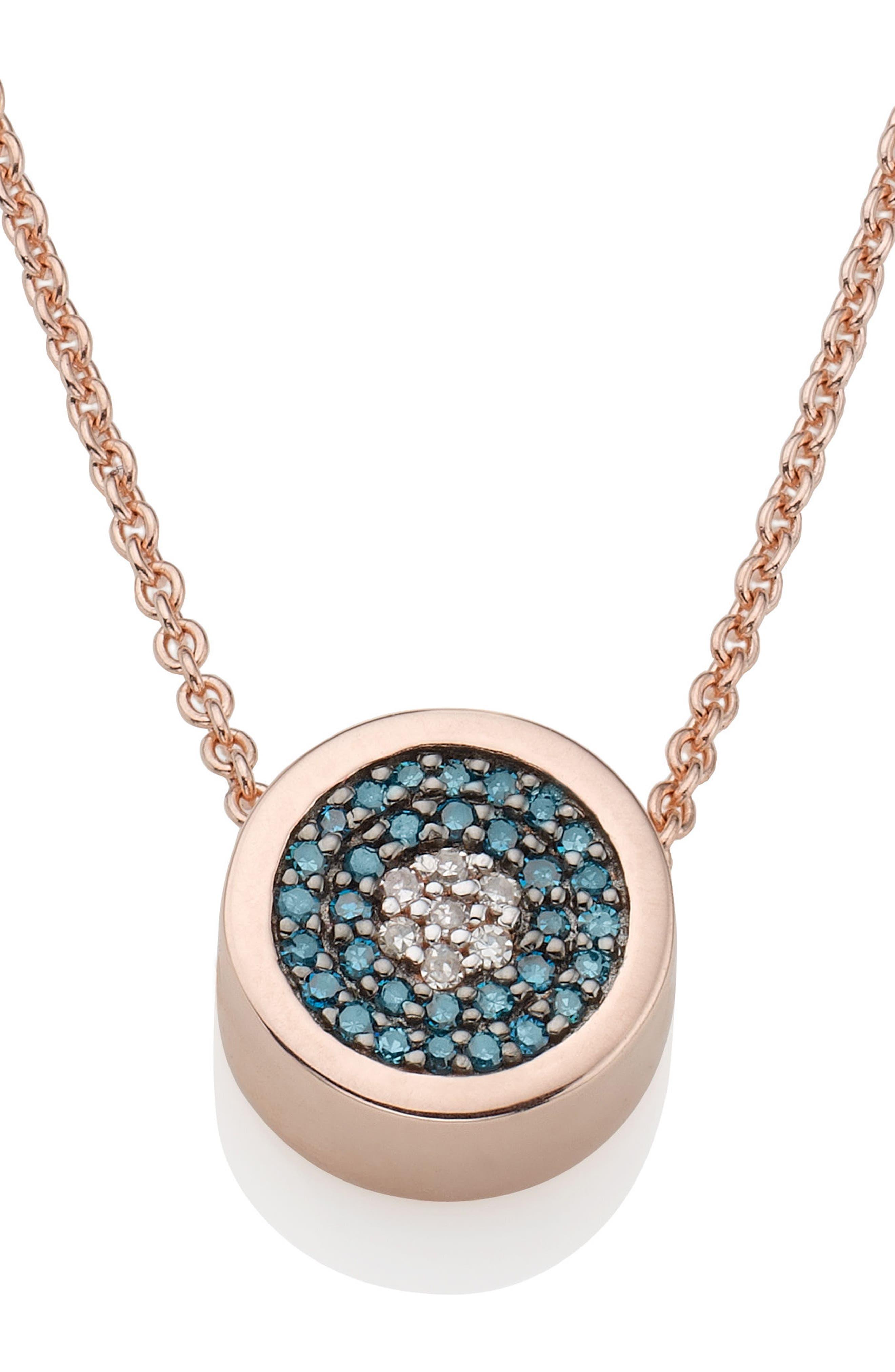 MONICA VINADER,                             Evil Eye Diamond Pendant Necklace,                             Main thumbnail 1, color,                             ROSE GOLD/ DIAMOND