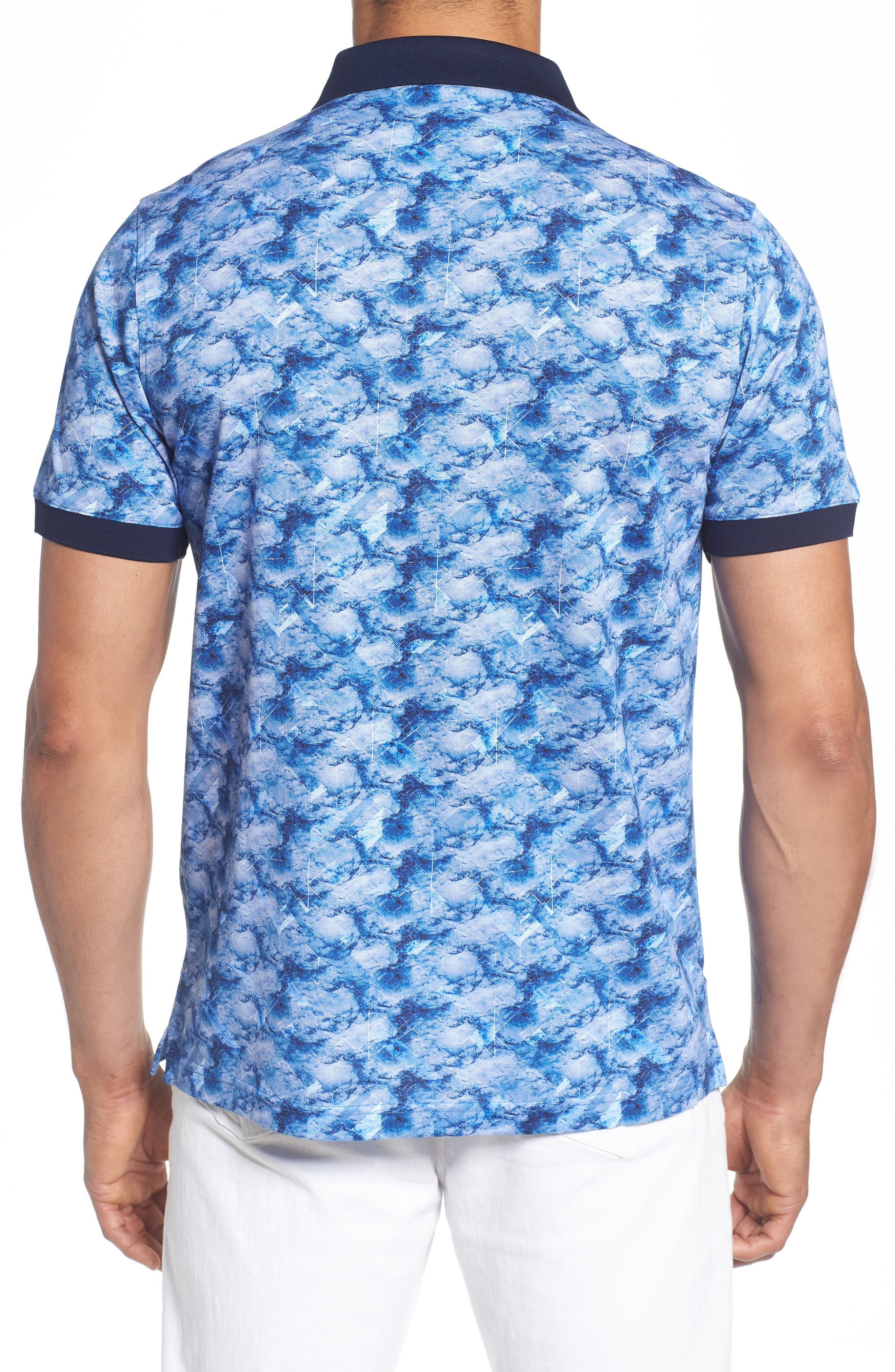 Abstract Print Piqué Polo,                             Alternate thumbnail 2, color,                             CLASSIC BLUE