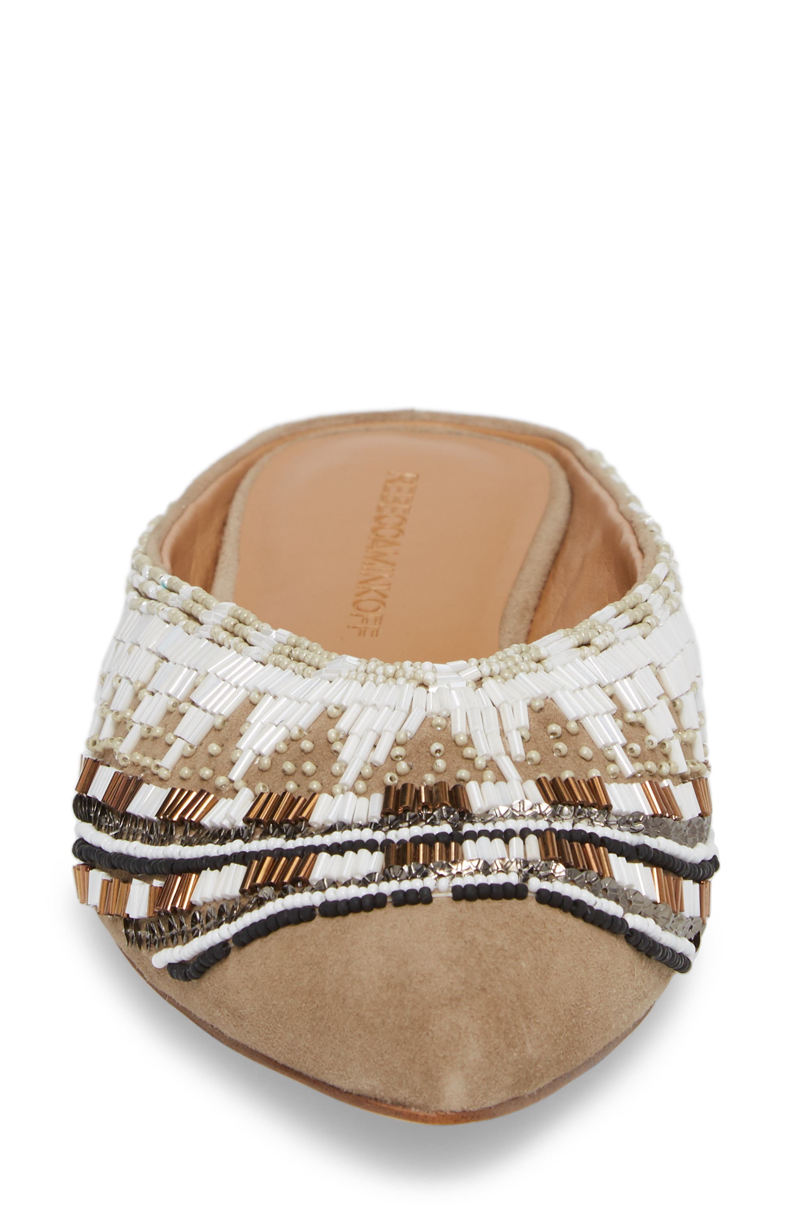Roxane Beaded Flat Mule,                             Alternate thumbnail 4, color,                             TAUPE SUEDE