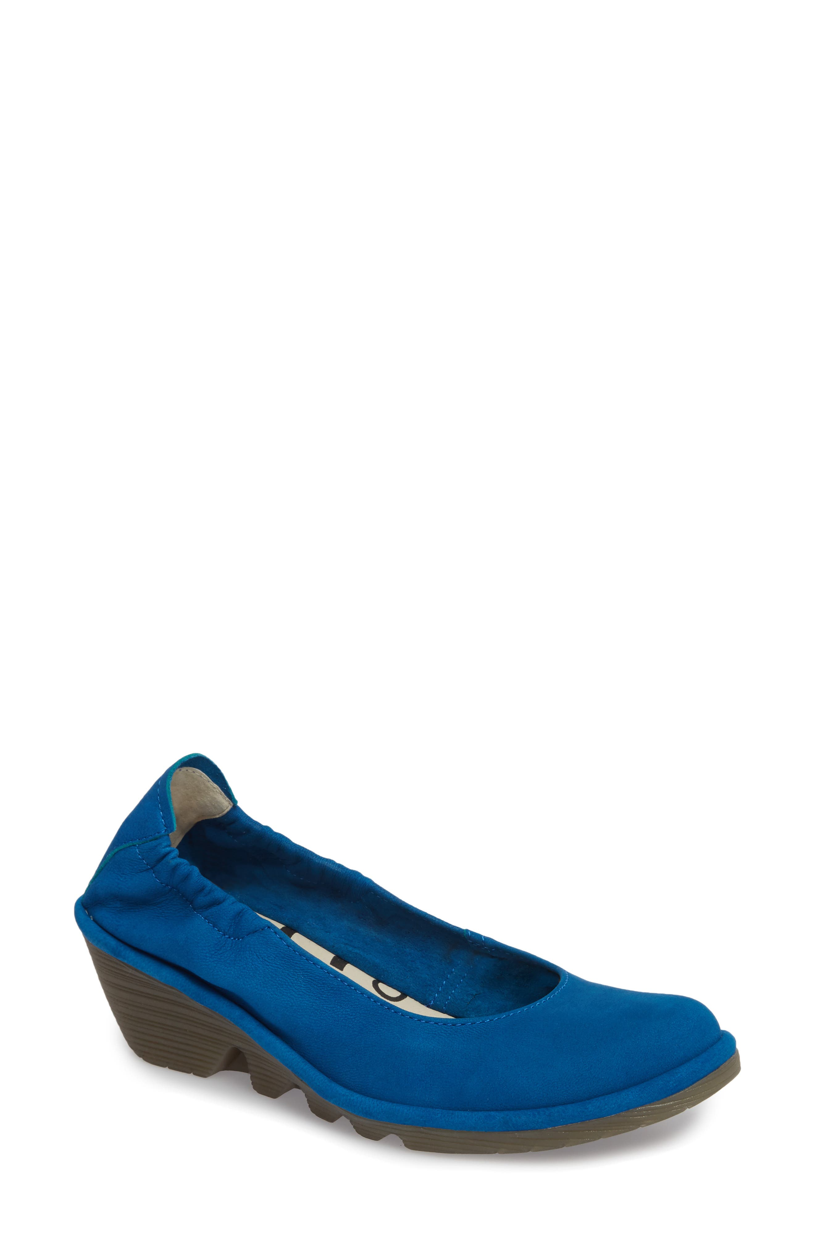 Pled Wedge,                         Main,                         color, ELECTRIC BLUE CUPIDO LEATHER
