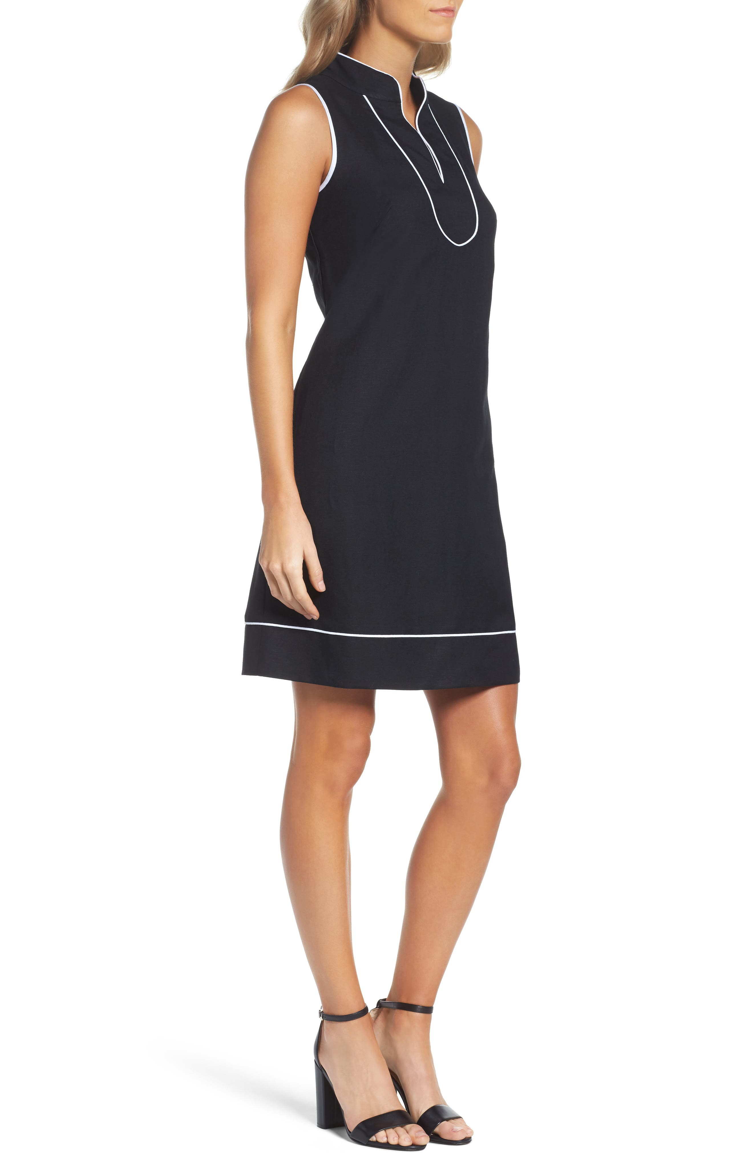 Piped Sheath Dress,                             Alternate thumbnail 3, color,                             012