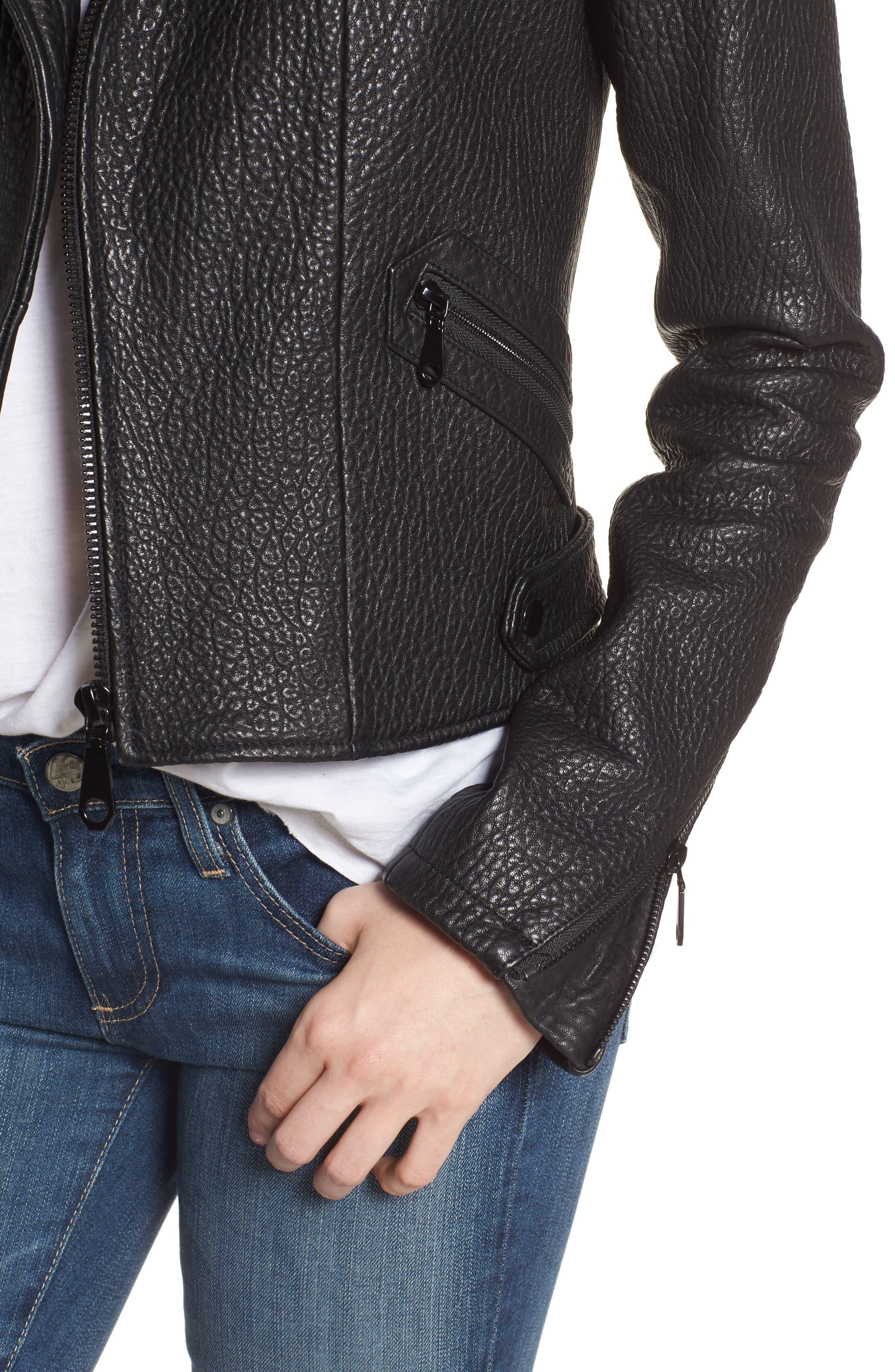 Wolf Leather Moto Jacket,                             Alternate thumbnail 4, color,                             001