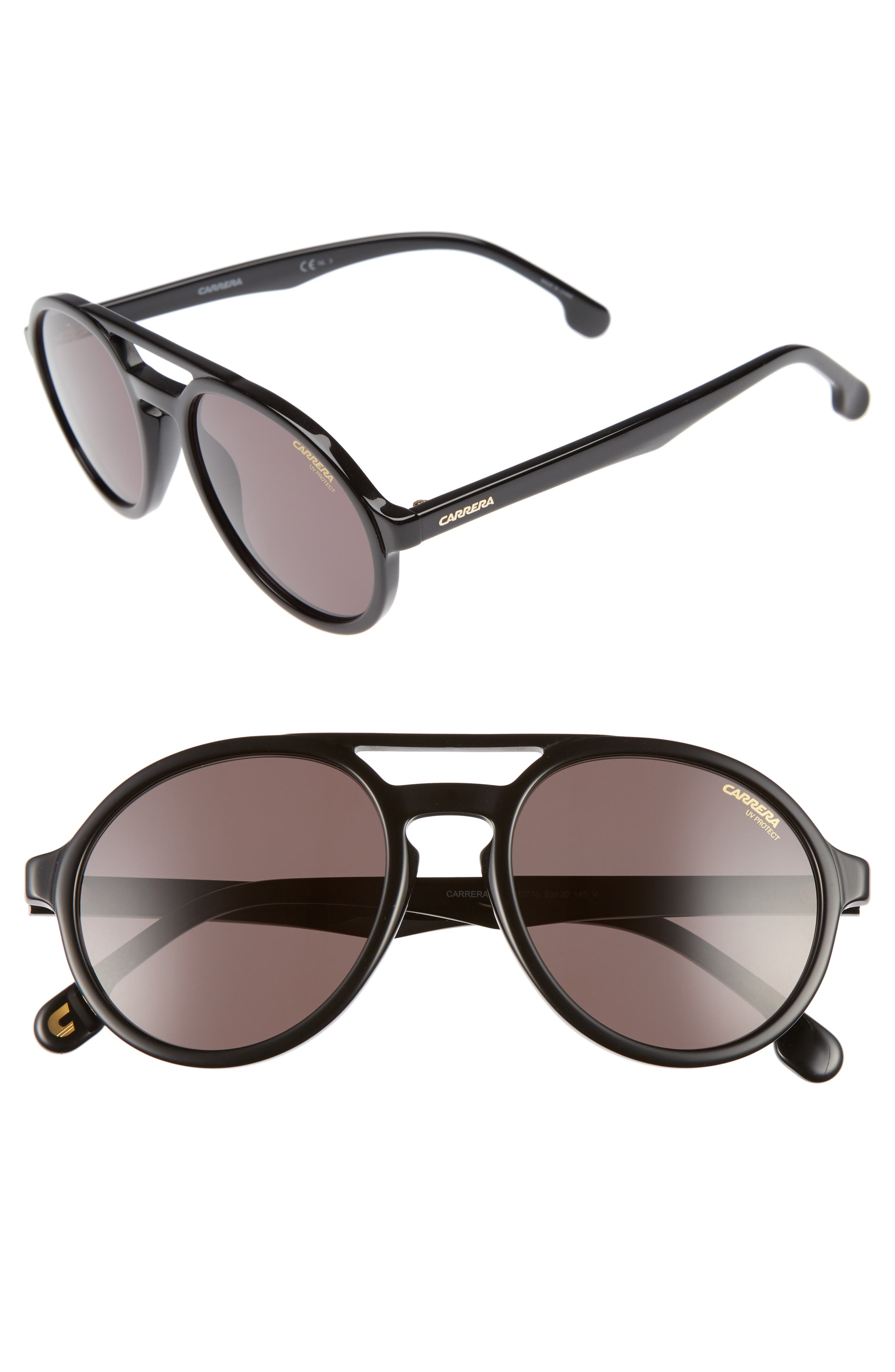 Carrera Pace 53mm Polarized Pilot Sunglasses,                             Main thumbnail 1, color,                             001