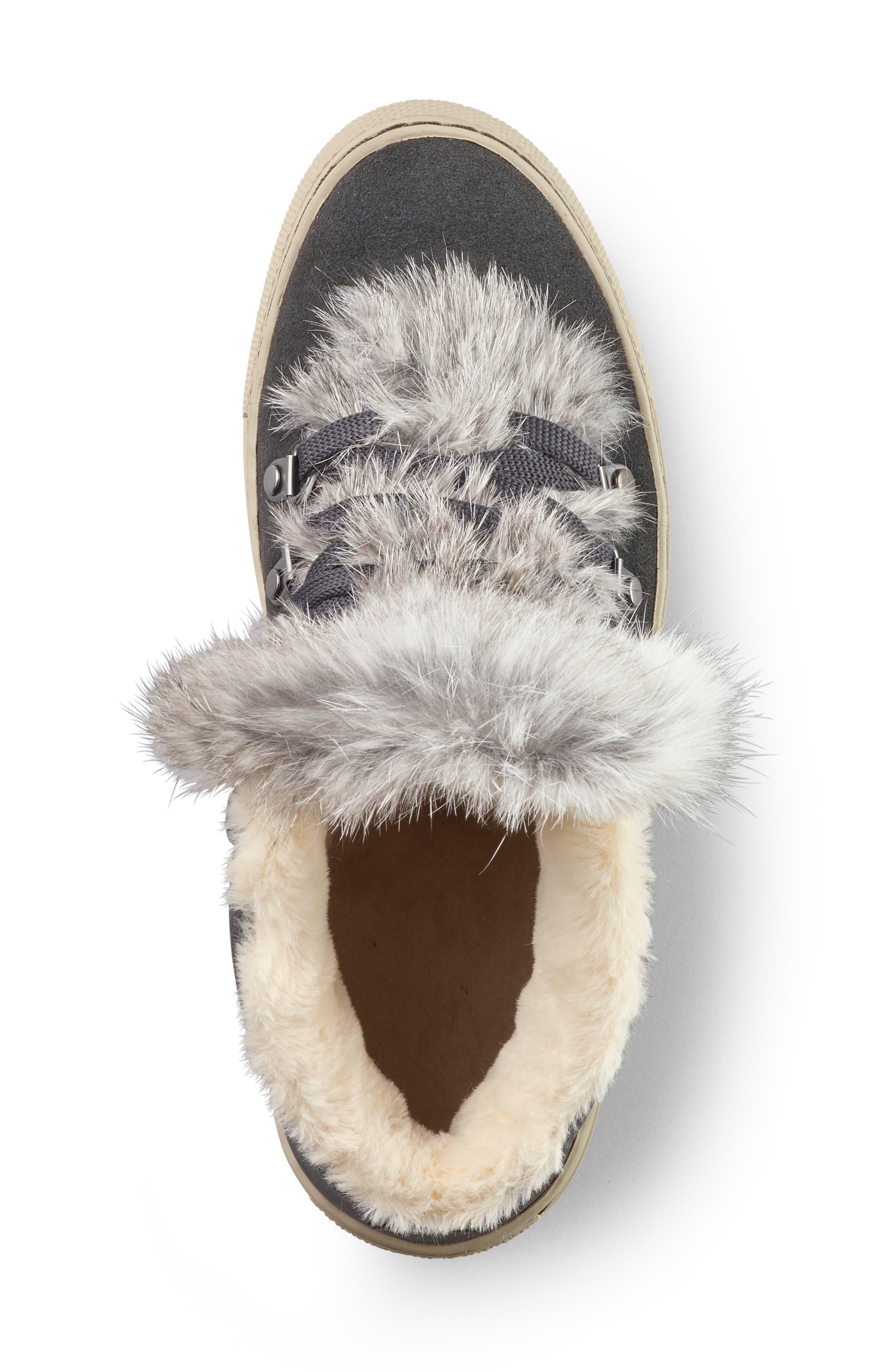 COUGAR,                             Dani High Top Sneaker with Genuine Rabbit Fur Trim,                             Alternate thumbnail 3, color,                             PEWTER SUEDE