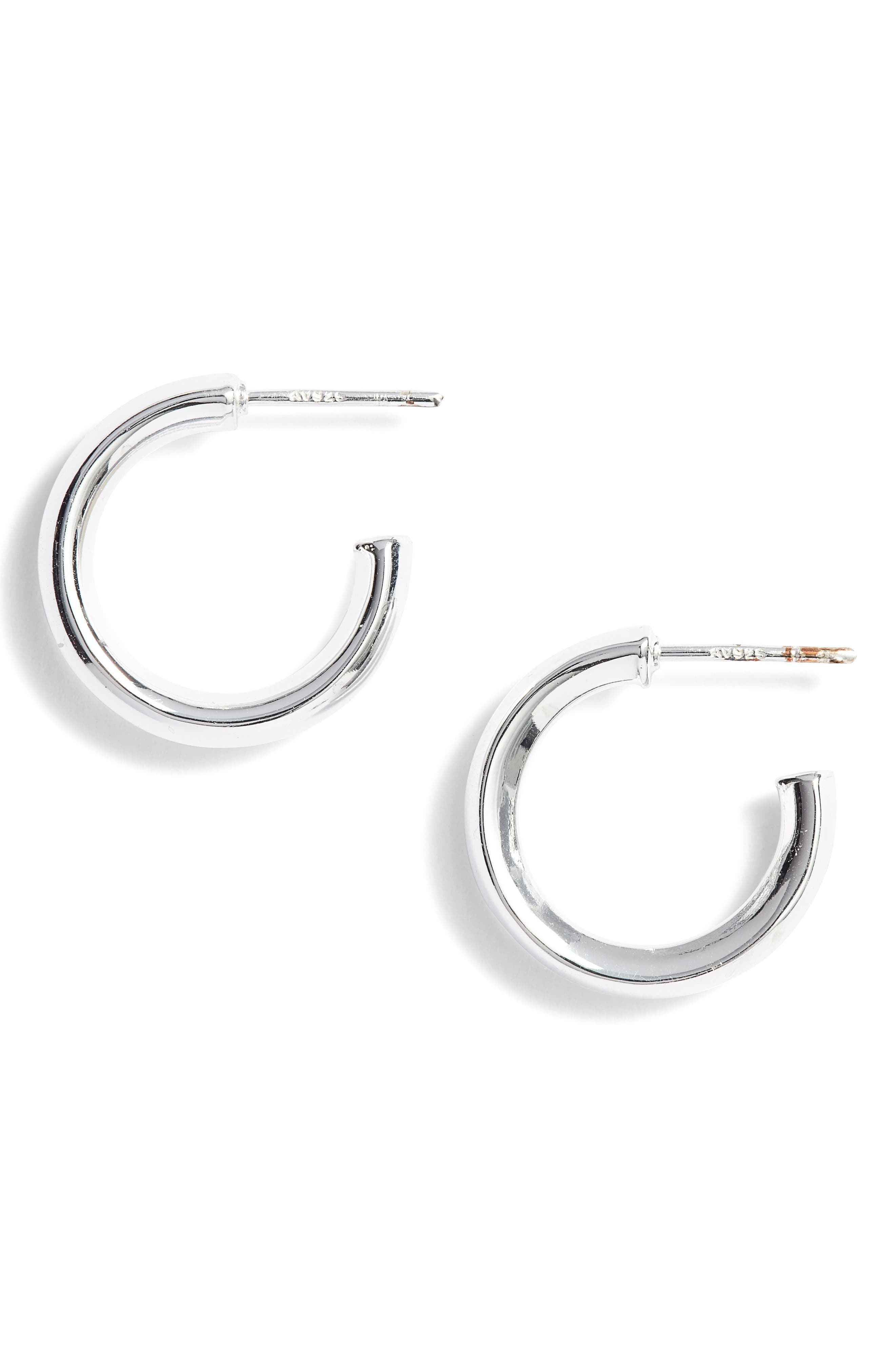 Small Hammered Tube Hoops,                             Main thumbnail 1, color,