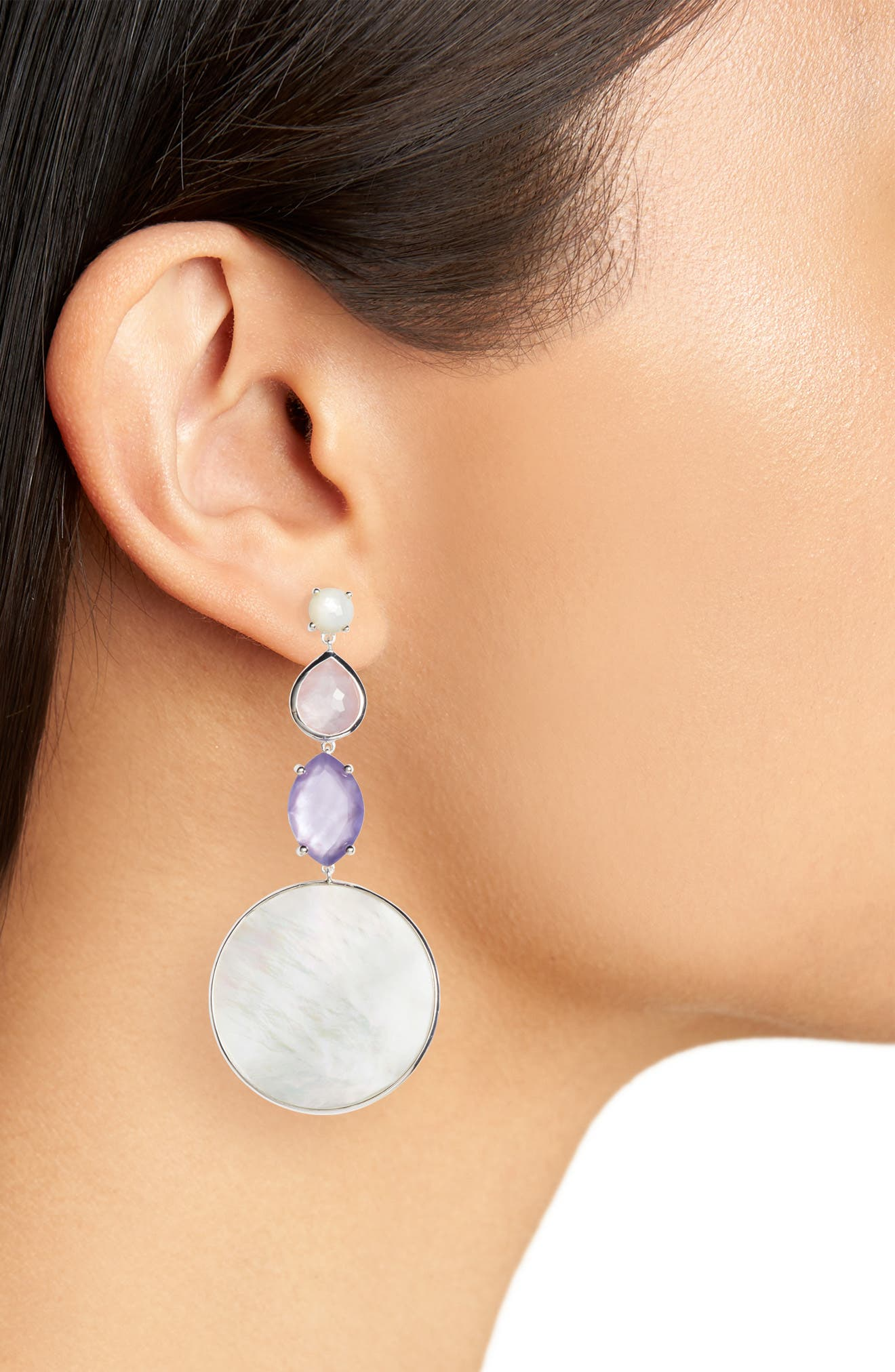 Wonderland Long Multi Shape Stone Earrings,                             Alternate thumbnail 2, color,                             SILVER/ PRIMROSE