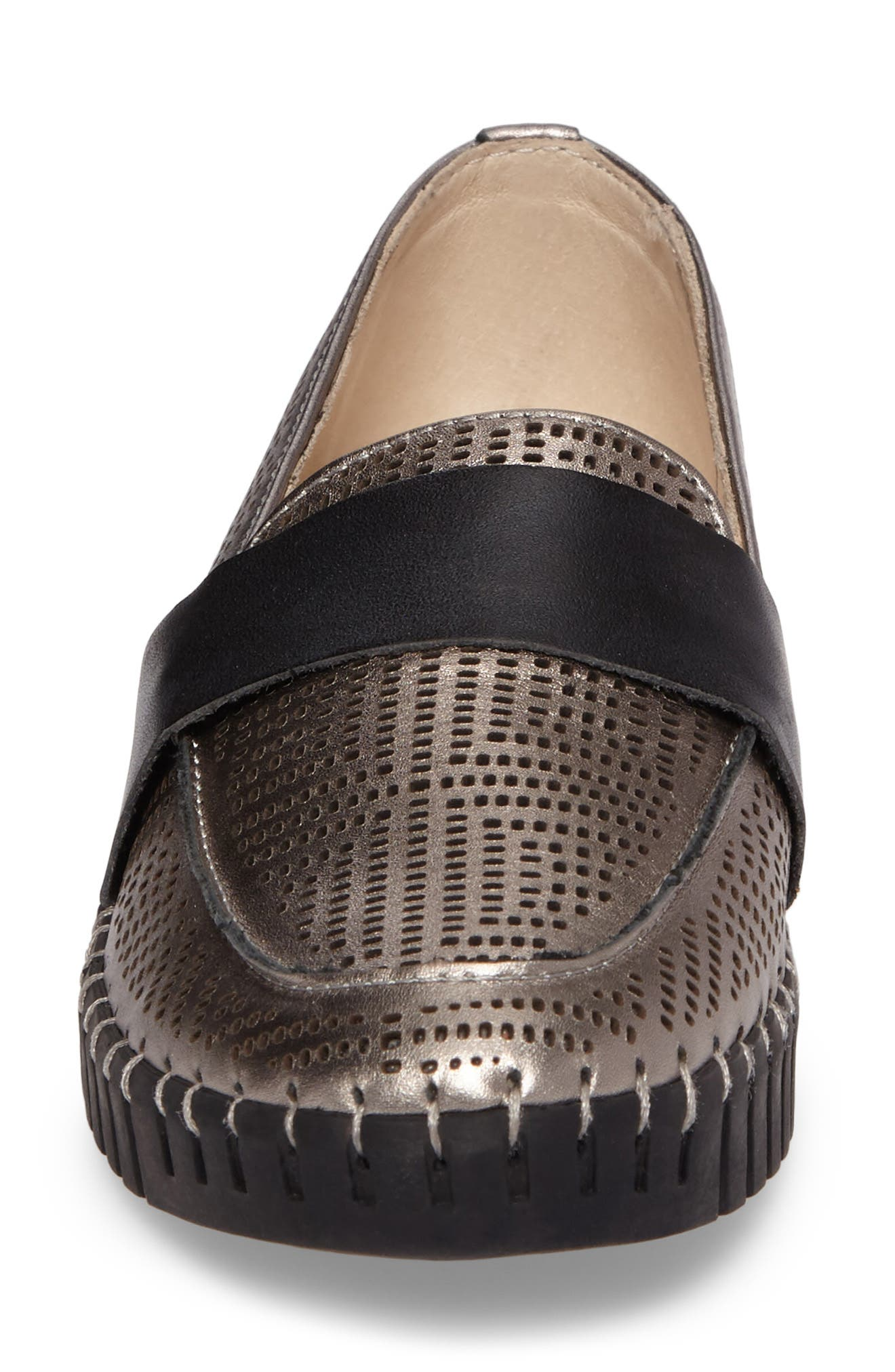 TW74 Perforated Flat,                             Alternate thumbnail 4, color,                             GUNMETAL LEATHER