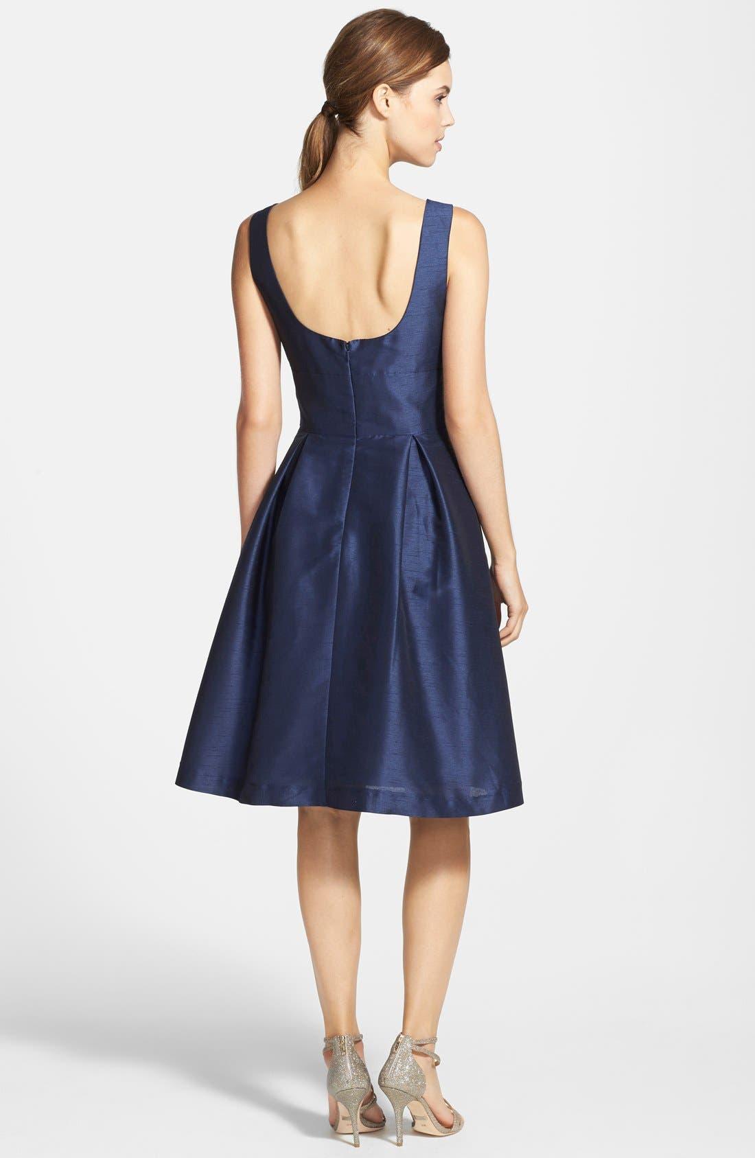 Dupioni Fit & Flare Dress,                             Alternate thumbnail 19, color,