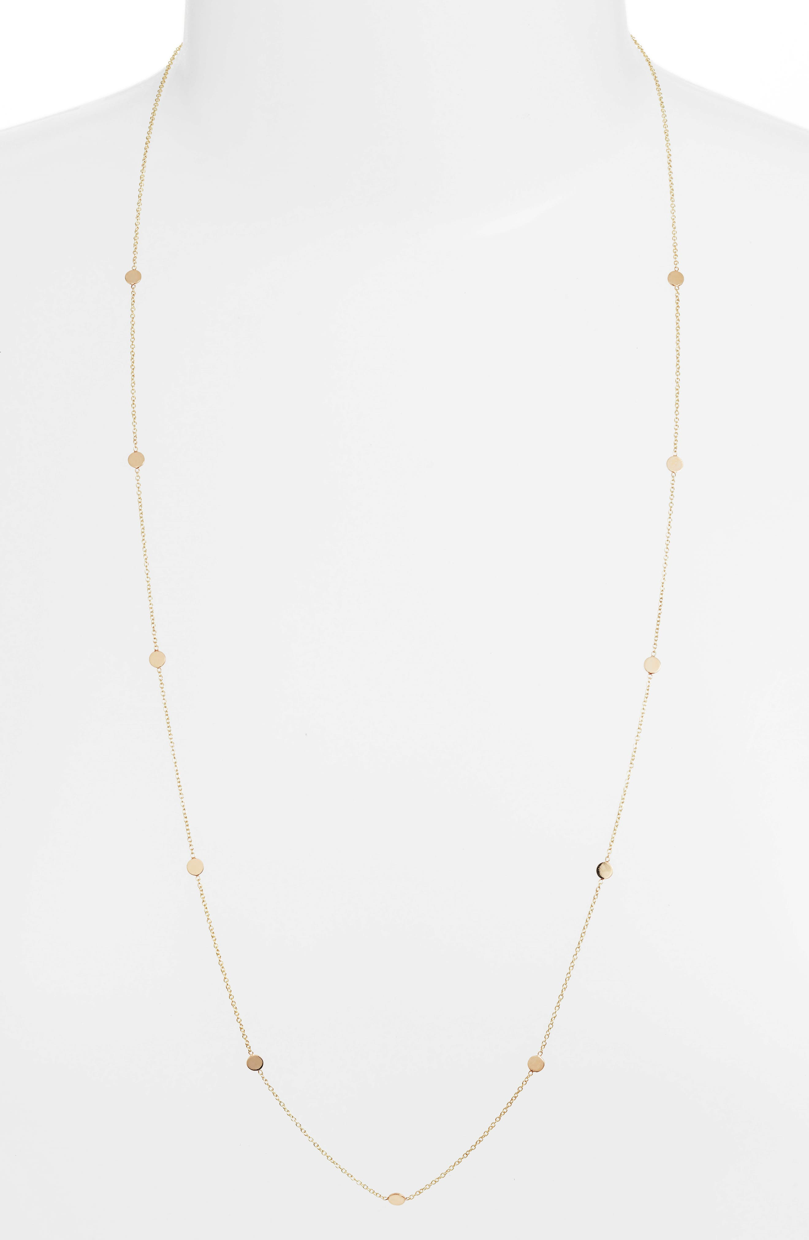 Itty Bitty Round Disc Station Necklace,                             Main thumbnail 1, color,                             YELLOW GOLD